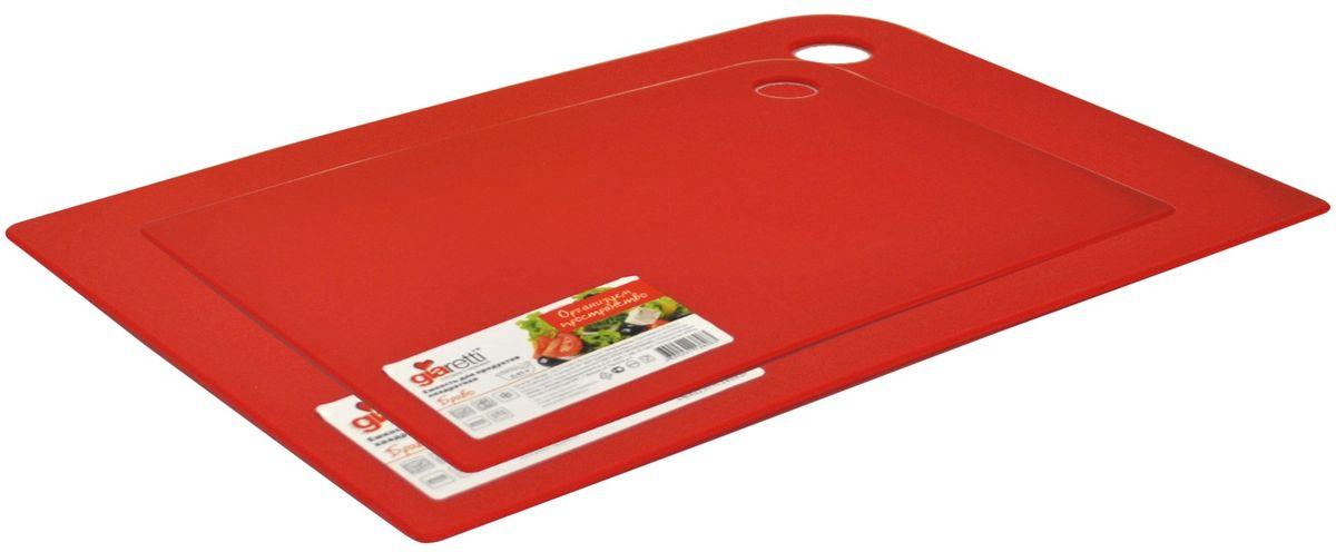 Набор разделочных досок Giaretti Delicato, гибкие, цвет: красный, 2 предмета94672Маленькие и большие, под хлеб или сыр, овощи или мясо. Разделочных досок много не бывает. Giaretti предлагает новинку – гибкие доски.Преимущества:-не скользит по поверхности стола - вы можете резать продукты и не отвлекаться на мелочи; -удобно использовать - на гибкой доске вы сможете порезать продукты, согнув доску переложить их в блюдо и не рассыпать содержимое;-легкие доски займут мало места на вашей кухне;-легко моются в посудомоечной машине; -оптимальный размер доски позволят вам порезать небольшой кусок сыра или нашинковать много овощей. В набор входит две доски: 25 x 17 см, 35 x 25 см.
