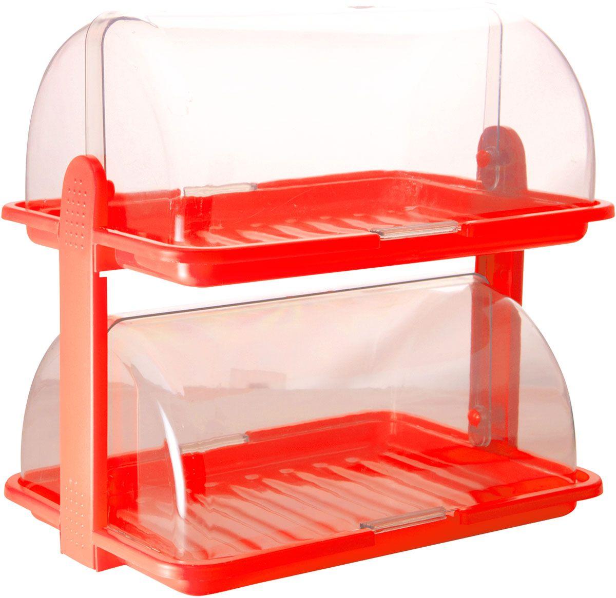 Хлебница Plastic Centre, 2-ярусная, цвет: красный, прозрачный, 38,5 х 26 х 37 смVT-1520(SR)Уникальная двухъярусная хлебница Plastic Centre для любителей выпечки и свежего хлеба. Хлебница выполнена из полипропилена. Она сохранит хлеб свежим длительное время. Благодаря двум раздельным секциям можно хранить сладкую выпечку и хлеб в разных отделениях.