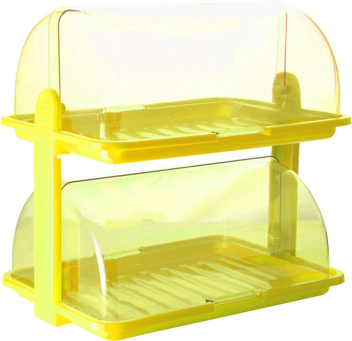 Хлебница Plastic Centre, 2-ярусная, цвет: желтый, прозрачный, 38,5 х 26 х 37 см4630003364517Уникальная двухъярусная хлебница Plastic Centre для любителей выпечки и свежего хлеба. Хлебница выполнена из полипропилена. Она сохранит хлеб свежим длительное время. Благодаря двум раздельным секциям можно хранить сладкую выпечку и хлеб в разных отделениях.