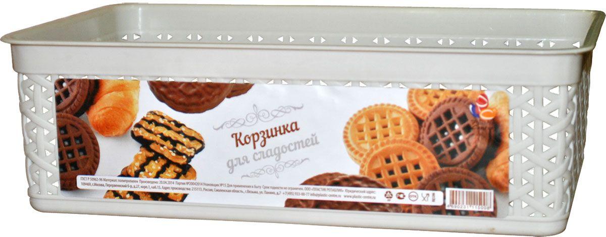 Корзинка для сладостей Plastic Centre, цвет: айвори, 25,7 х 15,8 х 8 см115510Традиционная плетеная корзинка для пряников, печенья и конфет. Для тех, кто любит натуральные материалы и природные дизайны. В корзинке удобно подавать на стол печенье, конфеты и другие сладости.Размер корзинки: 25,7 х 15,8 х 8 см.Вес корзинки: 130 г.