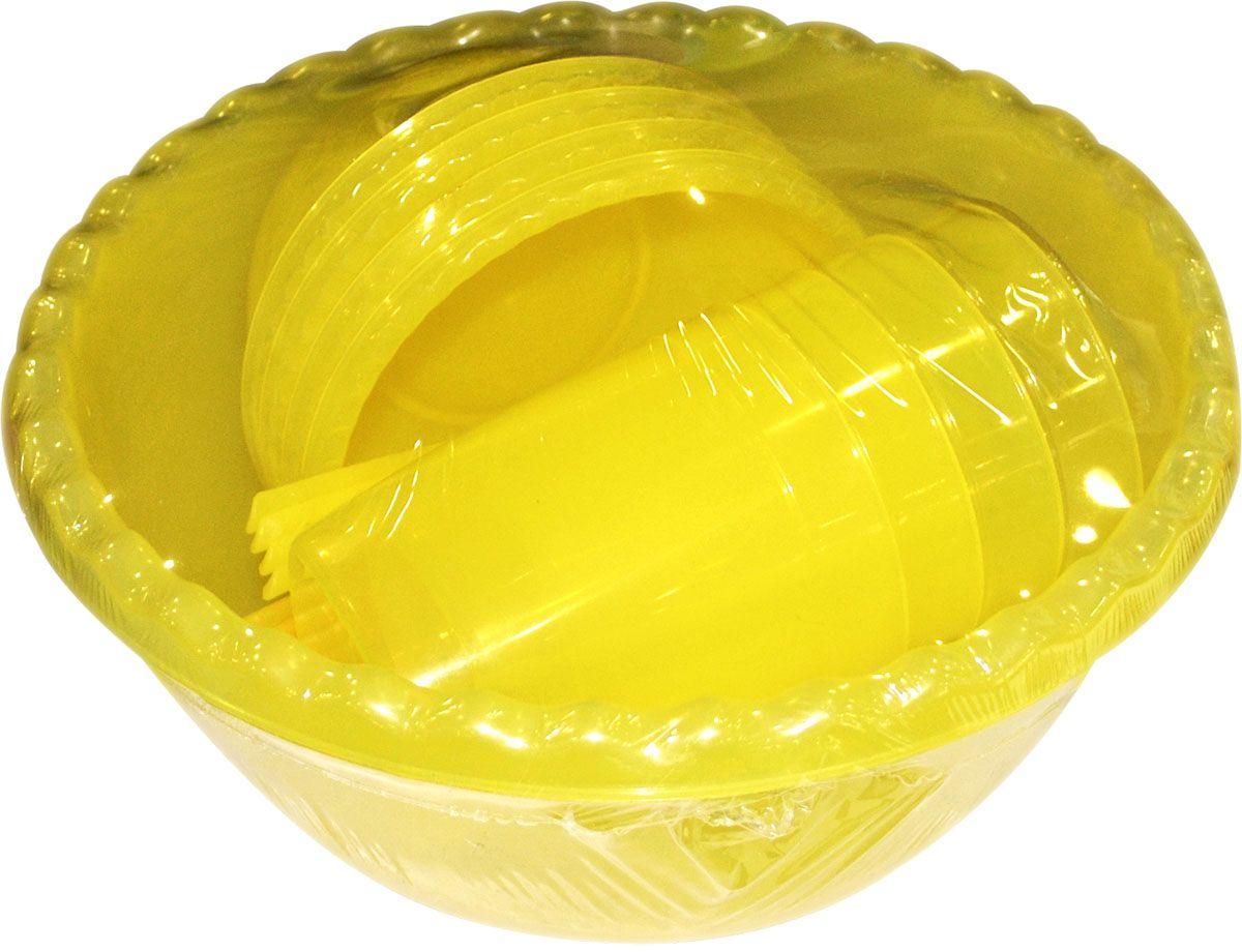 Набор для пикника Plastic Centre Фазенда, цвет: желтый, прозрачный, на 4 персоны115510Набор для пикника на 4 персоны - это все, что нужно для организации загородной поездки. Легкую посуду удобно взять с собой. Яркие цвета и привлекательный дизайн создадут уютную атмосферу и дополнят радостные моменты на природе. Прочный пластик подходит для многократного использования.В набор входят глубокая миска, 4 маленьких миски, 4 ложки, 4 вилки, 4 ножа, 4 стакана.