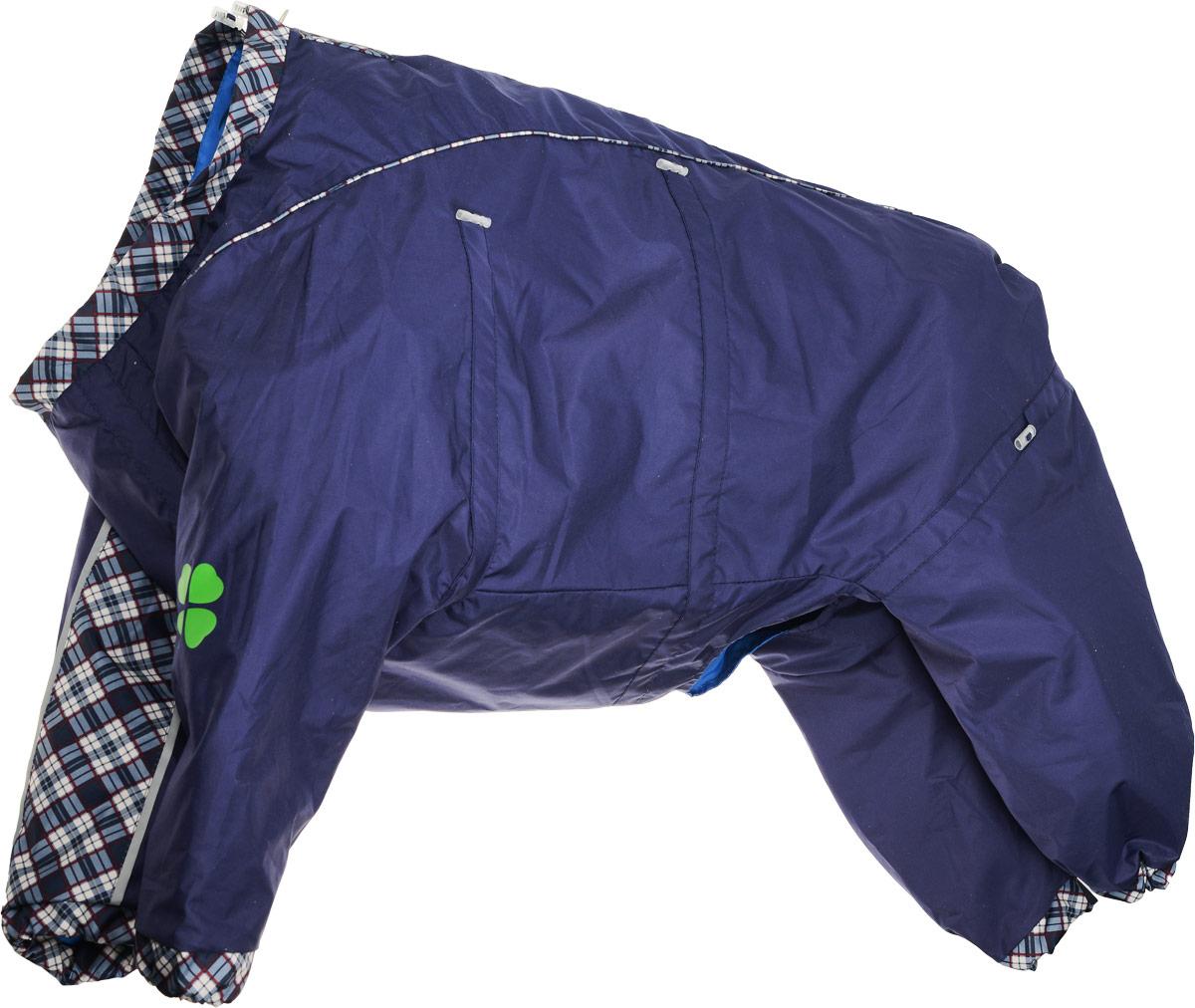 Комбинезон для собак Dogmoda Doggs, для мальчика, цвет: темно-синий. Размер XXL0120710Комбинезон для собак Dogmoda Doggs отлично подойдет для прогулок в ветреную погоду.Комбинезон изготовлен из полиэстера, защищающего от ветра и осадков, с подкладкой из вискозы, которая обеспечит отличный воздухообмен. Комбинезон застегивается на молнию и липучку, благодаря чему его легко надевать и снимать. Молния снабжена светоотражающими элементами. Низ рукавов и брючин оснащен внутренними резинками, которые мягко обхватывают лапки, не позволяя просачиваться холодному воздуху. На вороте, пояснице и лапках комбинезон затягивается на шнурок-кулиску с затяжкой. Модель снабжена непромокаемым карманом для размещения записки с информацией о вашем питомце, на случай если он потеряется.Благодаря такому комбинезону простуда не грозит вашему питомцу и он не даст любимцу продрогнуть на прогулке.