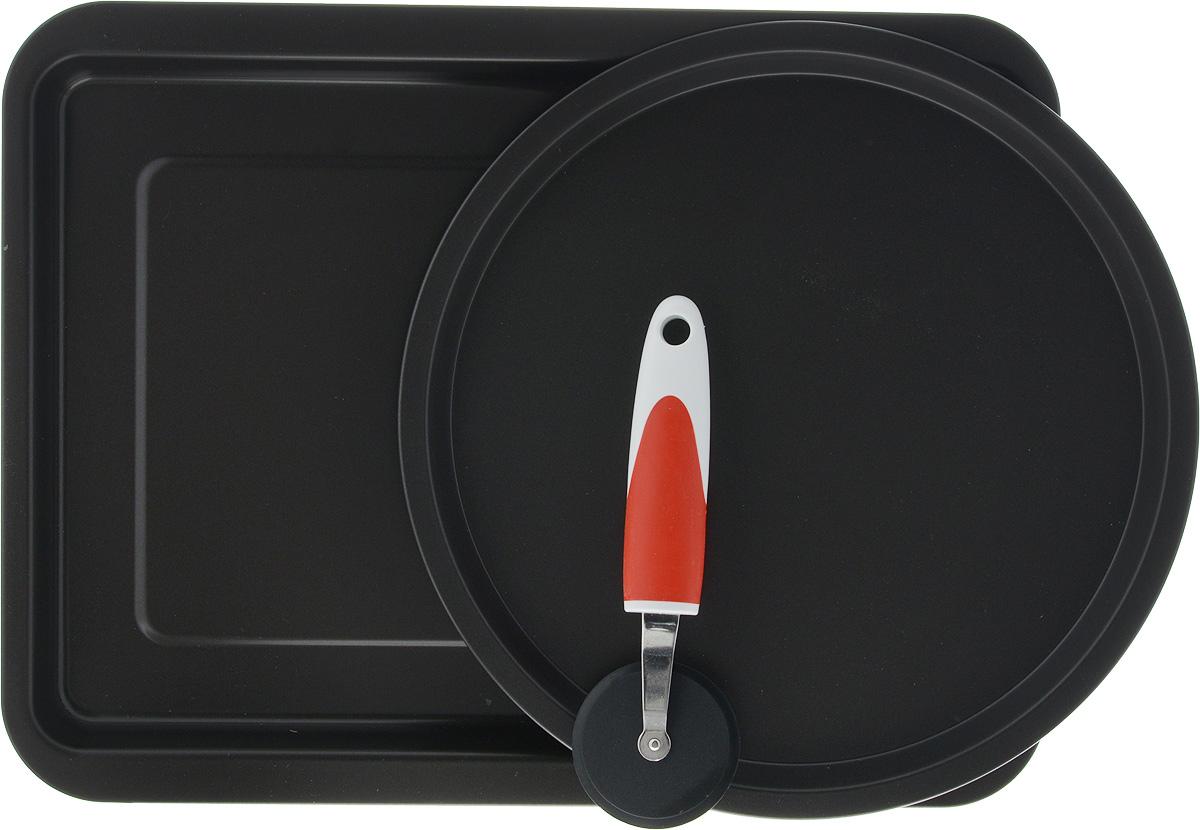 Набор для пиццы Ballarini,с антипригарным покрытием, 3 предмета1480Набор Ballarini, состоит из двух форм для приготовления пиццы - прямоугольной и круглой, вкомплекте присуствует специальный нож для пиццы. Формы выполнены из стали с антипригарным покрытием. Покрытие экологично, не содержит фтора, исключает пригорание даже при отсутствии масла, устойчиво к царапинам и повреждениям. Антипригарное покрытие не содержит вредных материалов, изготавливается без PFOA, тяжелых металлов и никеля. Формы можно использовать в духовке до 250С. Нож для пиццы выполнен из пластика, резины и металла. Он поможет вам легко разрезать пиццу на ровные куски. Нож имеет отверствие на ручке, за которое можно повесить в удобное для вас место. Благодаря крепкой ручке и широкому круглому лезвию, нож для пиццы безопасен и удобен в использовании. При уходе за изделием не используйте абразивные губки и моющие средства или средства для очистки духовок.Прекрасное приобретение или замечательный подарок хозяйке.Характеристика круглой формы для пиццы:Диаметр: 28 см, Высота стенки: 1,5 см. Характеристика прямоугольной формы:Размер: 40 х 30 х 3,5 см. характеристика ножа:Размер ( с ручкой): 19,5 х 6,5 х 1,5 см, Диаметр рабочей поверхности: 6,5 см.