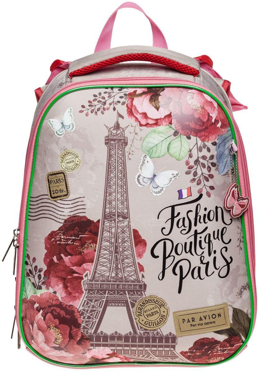 Эргономичный рюкзак Hatber Краски Парижа предназначен для девочки младшего и среднего школьного возраста. Выполнен из современного EVA материала. Рюкзак имеет два отделения на застежке-молнии и застежку-молнию посередине, открыв которую можно увеличить объем рюкзака. Внутри первого отделения находится большой карман из сетки на резинке, карман-органайзер для письменных принадлежностей, накладной карман с клапаном на липучке для сотового телефона, карман на молнии и накладной карман для мелочей. Во втором вместительном отделении находятся два жестких разделителя, которые разграничивают отделение на три секции. Рюкзак имеет жесткий корпус, дно исполнено из водонепроницаемого ПВХ и оснащено пластиковыми ножками. Эргономичная ортопедическая вентилируемая спинка с мягкими вставками из спонжа и широкие регулируемые лямки обеспечат комфорт при носке. Плотная подкладка устойчива к разрывам. Светоотражающие вставки сделают ребенка видимым на дороге в темное время суток. Милый дизайн с Эйфелевой башней понравится вашему ребенку.
