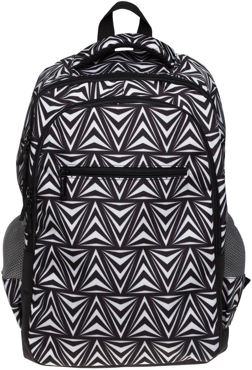 Hatber Рюкзак Basic Style Black and White72523WDРюкзак Hatber Basic Style Black and White - это стильный молодежный рюкзак, отличающийся удобством и вместительностью. Изделие выполнено из полиэстера и оформлено геометрическим принтом.Рюкзак имеет 2 вместительных отделения, закрывающихся на застежку-молнию. В основном отделении расположен карман для тетрадей. Снаружи размещены 3 кармана: спереди - 1 карман на молнии, на боковых сторонах - 2 сетчатых кармана. Текстильная ручка обеспечивает возможность переноски рюкзака в одной руке. Дно и спинка изделия уплотнены. S-образная форма лямок отвечает за более плотную фиксацию рюкзака, предотвращая перенапряжение мышц спины.