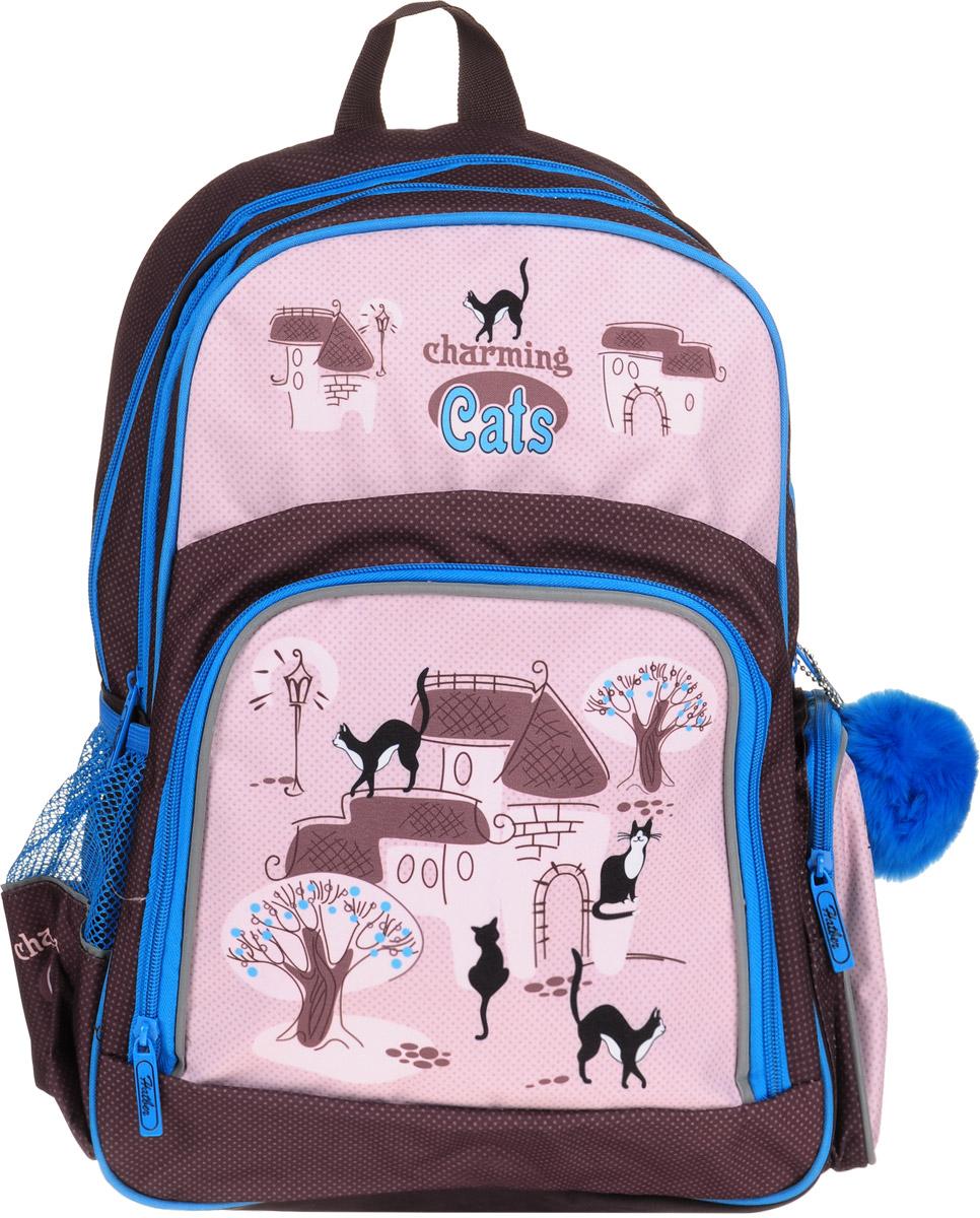 Hatber Рюкзак Soft Charming Cats17326Рюкзак Hatber Charming Cats серии Soft - это облегченный рюкзак, предназначенный для детей младшего и среднего школьного возраста. Изделие выполнено из полиэстера и оформлено принтом с изображением кошек. Рюкзак имеет 2 отделения. Снаружи расположены 3 кармана: 2 боковых сетчатых и 1 передний. Светоотражающие вставки обеспечивают безопасность в темное время суток. Текстильная ручка обеспечивает возможность переноски рюкзака в одной руке.