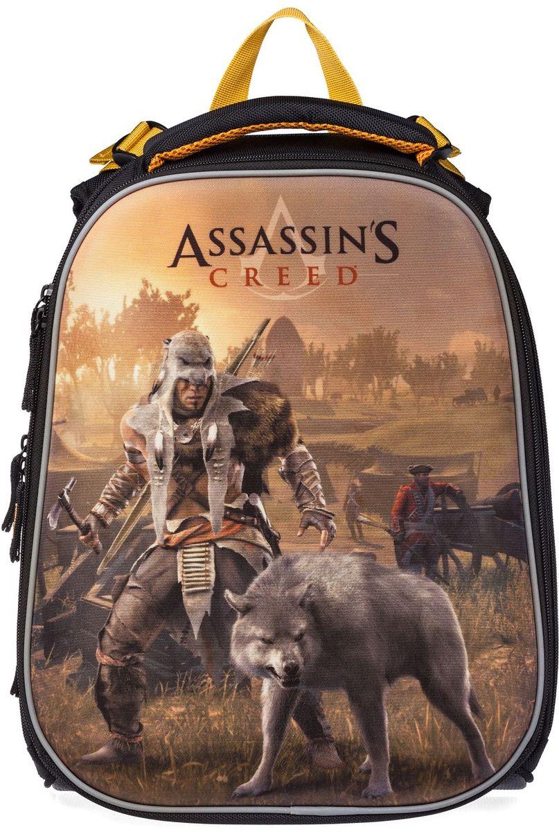 Hatber HD Ранец школьный Ergonomic Assassins Creed72523WDРанец школьный Hatber HD Ergonomic: Assassins Creed сочетает в себе современный дизайн, функциональность и долговечность. Ранец, выполненный из высококачественного полиэстера, содержит одно вместительное отделение, застегивающееся на застежку-молнию двумя бегунками. Внутри располагаются два жестких разделителя. На лицевой стороне ранец дополнен карманом на застежке-молнии, внутри которого находится органайзер для письменных принадлежностей, карман для телефона с клапаном на липучке, два кармашка-сетки и пластиковый карабин для ключей.Широкие эргономичные лямки, регулируемые по длине, равномерно распределяют нагрузку на плечевой пояс. Ранец оснащен уплотненной ручкой для переноски в руке, а также петлей для подвешивания. Лямки дополнены светоотражающими вставками. Дно выполнено из водонепроницаемого ПВХ и оснащено пластиковыми ножками.Легкая и удобная модель идеально подойдет для детей младшего и среднего школьного возраста. Объем может быть увеличен посредством раскрытия центральной молнии.