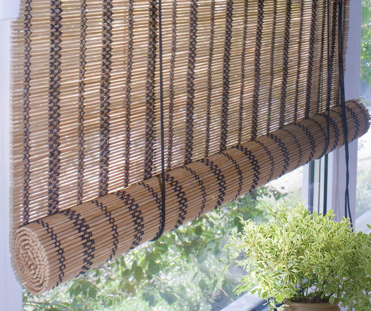Штора рулонная Эскар Бамбук, цвет: охра, ширина 120 см, высота 160 см012H1800При оформлении интерьера современных помещений многие отдают предпочтение природным материалам. Бамбуковые рулонные шторы - одно из натуральных изделий, способное сделать атмосферу помещения более уютной и в то же время необычной. Свойства бамбука уникальны: он экологически чист, так как быстро вырастает, благодаря чему не успевает накопить вредные вещества из окружающей среды. Кроме того, растение обладает противомикробным и антибактериальным действием. Занавеси из бамбука безопасно использовать в помещениях, где находятся новорожденные дети и люди, склонные к аллергии. Они незаменимы для тех, кто заботится о своем здоровье и уделяет внимание высокому уровню жизни.Бамбуковые рулонные шторы представляют собой полотно, состоящее из тонких бамбуковых стеблей и сворачиваемое в рулон.Римские бамбуковые шторы, как и тканевые римские шторы, при поднятии образуют крупные складки, которые прекрасно декорируют окно.Особенность устройства полотна позволяет свободно пропускать дневной свет, что обеспечивает мягкое освещение комнаты. Это натуральный влагостойкий материал, который легко вписывается в любой интерьер, хорошо сочетается с различной мебелью и элементами отделки. Использование бамбукового полотна придает помещению необычный вид и визуально расширяет пространство.Помимо внешней красоты, это еще и очень удобные конструкции, экономящие пространство. Изготавливаются они из специальных материалов, устойчивых к внешним воздействиям. Сама штора очень эргономичная, и позволяет изменять визуально пространство в зависимости от потребностей владельца.