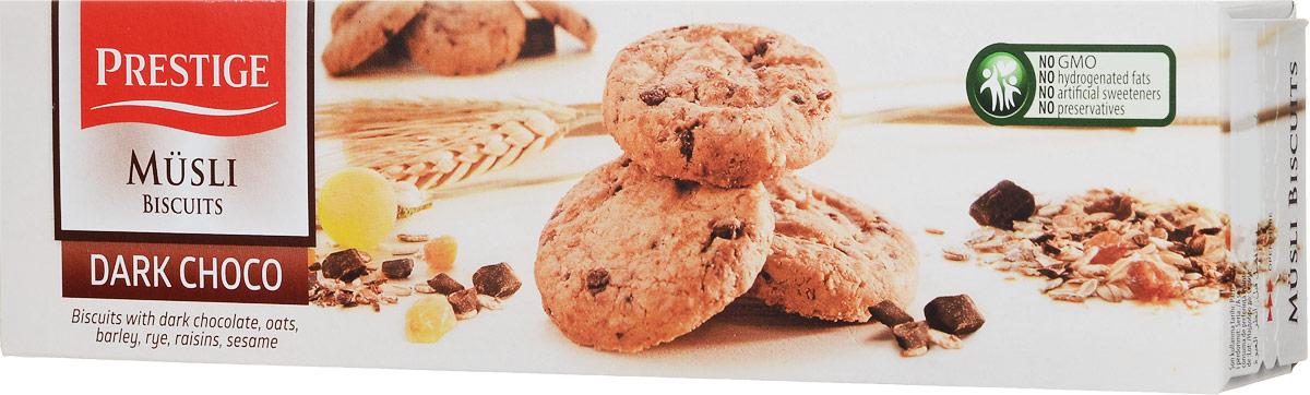 Prestige Печенье мюсли с кусочками темного шоколада, 120 г0120710Печенье, приготовленное из натуральных злаков с добавлением кусочков темного шоколада, не содержит искусственных красителей и ароматизаторов. Печенье является источником углеводов, которые усваиваются непрерывно в течение 4 часов.Уважаемые клиенты! Обращаем ваше внимание, что полный перечень состава продукта представлен на дополнительном изображении.