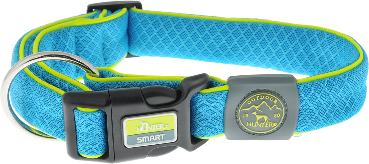 Ошейник для собак Hunter Smart Maui L, цвет: голубой, 42-65 смоф20кОшейник для собак Hunter Maui выполнен из невероятно мягкого и легкого сетчатого текстиля. Регулируется по размеру в широком диапазоне. Застегивается на пластиковый карабин, имеет металлическое кольцо для поводка. Обхват шеи: 42-65 см. Ширина ошейника: 3,5 см.