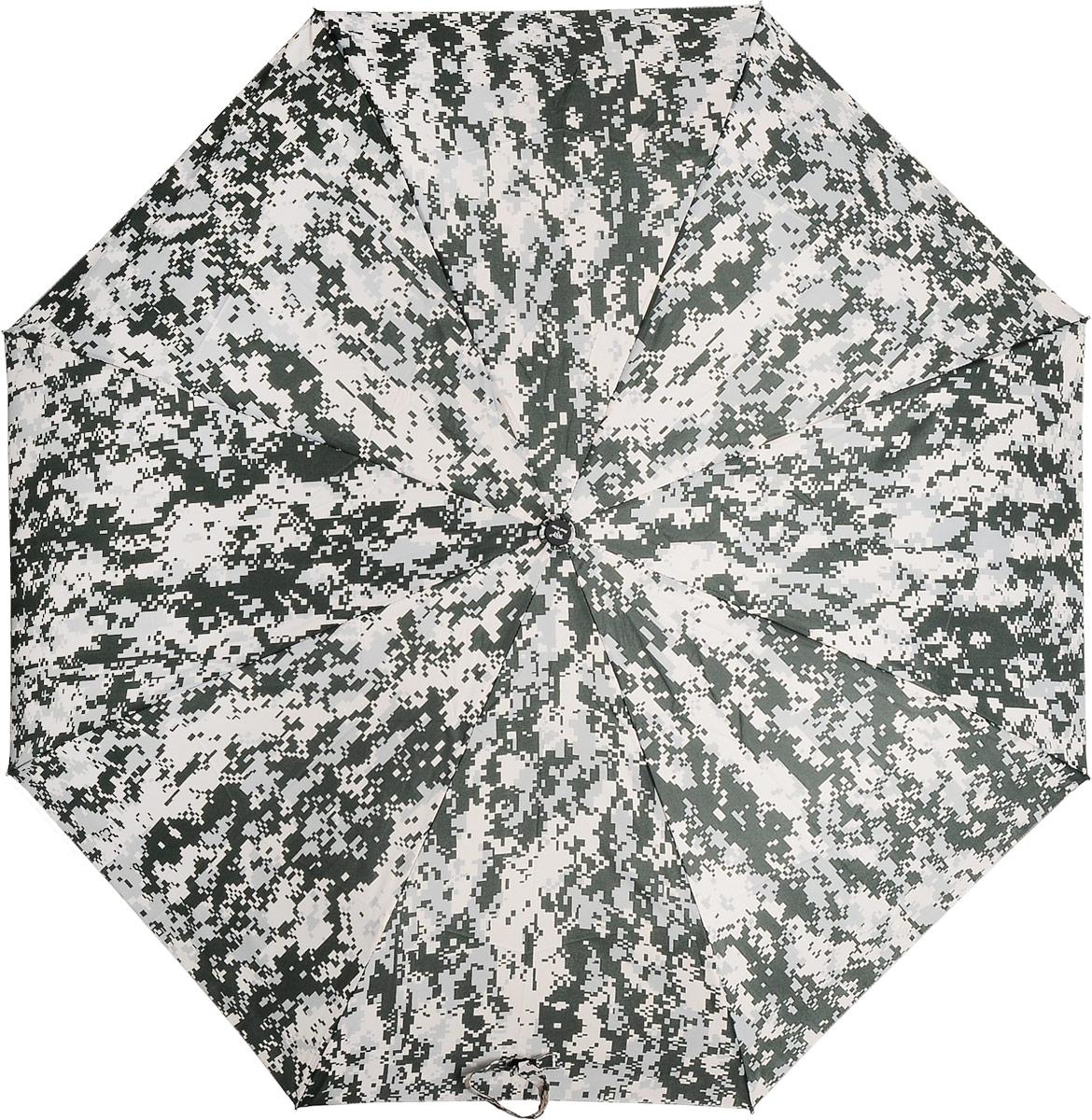 Зонт Эврика, цвет: зеленый, белый. 97841SCPA390Автоматический зонт двойного сложения с куполом из ткани защитной расцветки – настоящий подарок для мужчин! Крепкие широкие спицы с системой анти-ветер, прочный металлический стержень, ручка из пластика, препятствующего скольжению, растягивающаяся наручная петля, удобные кнопки складывания и раскладывания, стильный чехол из той же ткани с сеточкой и карабином для крепления зонта – все эти детали подтверждают высокое качество изделия.Размер в сложенном состоянии: 30 х 6 см. Размер купола: 105 см.Длина штока в разложенном виде: 60 см.