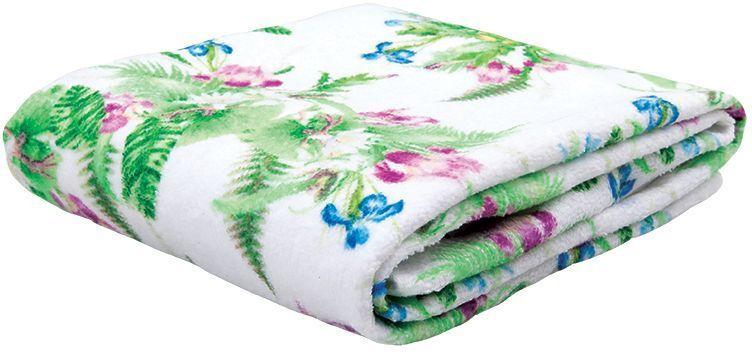 Полотенце банное Mona Liza Iris, цвет: белый, 70 х 140 см531-105Махровые полотенца с велюром созданы в дополнение к постельному белью из коллекции Mona Liza Secret Gardens by Serg Look. Принты полотенец идентичны принтам комплектов постельного белья.