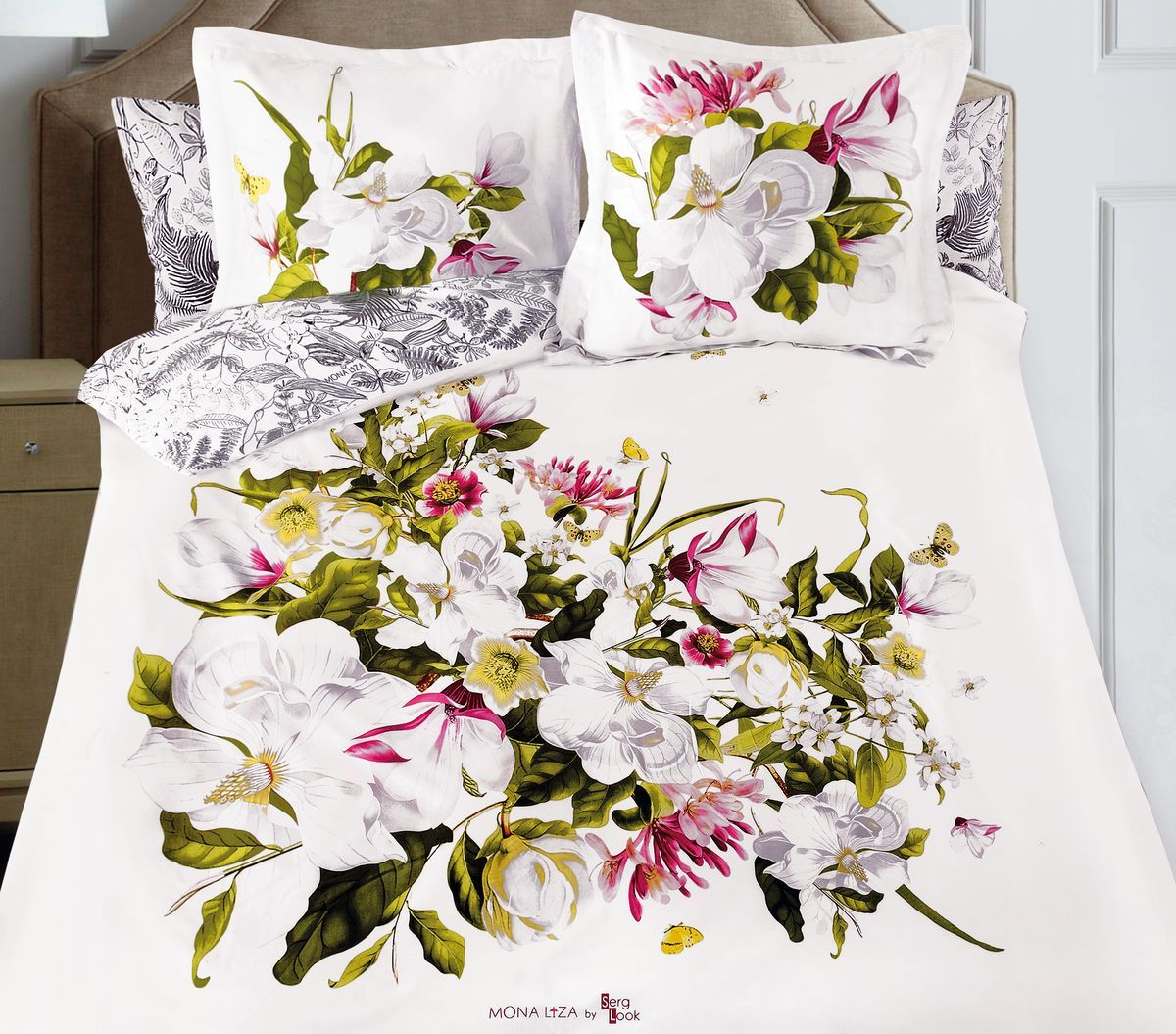 Комплект белья Mona Liza Magnolia, 2-спальный, наволочки 50x70, 70x70CLP446Флоральные мотивы редких экзотических цветов, переведенные в паттерн, позаимствованы из путешествий по тропическим лесам, будоражат воображение природными сочетаниями цветовых палитр и роскошью принтов. Коллекция принесет в ваш дом незабываемое настроение и добавит колорит. Высококачественный сатин окутает и позволит раствориться в мечтах о дальних жарких странах и окунуться во время вечного лета!