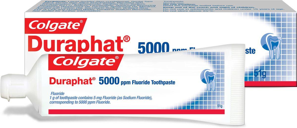 Colgate Зубная паста Duraphat 5000ppm 51мл5010777139655Зубная паста 51мл - 1шт В 3,6 раза более эффективно останавливает кариес на начальных стадиях по сравнению с обычной зубной пастой,оптимальный режим использования: 3 раза в день вместо обычной зубной пасты в течение, 3 месяцев. После этого рекомендуется повторный осмотр у стоматолога для определения необходимости дальнейшего использования