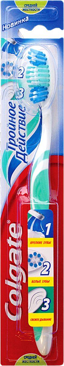 Colgate Зубная щетка Тройное действие, средней жесткостиSatin Hair 7 BR730MNColgate Тройное действие - зубная щетка средней жесткости. Щетинки всесторонней чистки способствуют бережному очищению зубного налета, возвращая зубам естественную белизну. Поверхность для чистки языка обеспечивает свежее дыхание.Эргономичная рифленая ручка не скользит в ладони, амортизирует давление руки на нежную поверхность десен. Товар сертифицирован. Длина щетки: 19 см.Размер рабочей поверхности: 3,5 см х 1,5 см.Материал: пластик.