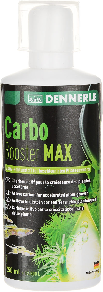 Удобрение для аквариумных растений Dennerle Carbo Booster Max, натуральное, с емкостью для дозировки, 250 мл0120710Натуральное удобрение Dennerle Carbo Booster Max подходит для аквариумных растений. Содержание активного углерода способствует ускорению роста растений. Подавляет рост водорослей за счет сильного роста растений. При правильной дозировке биологически совместимо с любыми обитателями аквариума (рыбы, креветки, крабы, улитки и другие). Видимый успех всего лишь через несколько недель.Можно использовать как с дополнительной CO2-системой, так и без нее.В комплект входит емкость для дозировки. Упаковка 250 мл рассчитана на 12500 л аквариумной воды.Дозировка: в зависимости от посадки и условий выращивания, ежедневно 2-4 мл на 100 л.Объем: 250 мл.Уважаемые клиенты! Обращаем ваше внимание на возможные изменения в дизайне упаковки. Качественные характеристики товара остаются неизменными. Поставка осуществляется в зависимости от наличия на складе.