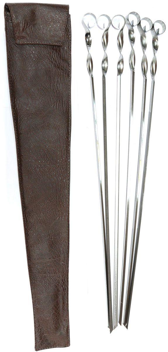 Набор шампуров BG, угловые, длина 560 мм, 6 шт. 2745354 009312Набор угловых шампуров изготовленных из высококачественной нержавеющей стали. В комплект входит 6 шампуров 560 х 11 х 1 мм.+ чехол из кожзаменителя для хранения. Размер упаковки: 600 х 120 х 20 мм. Вес комплекта с чехлом: 340 г.