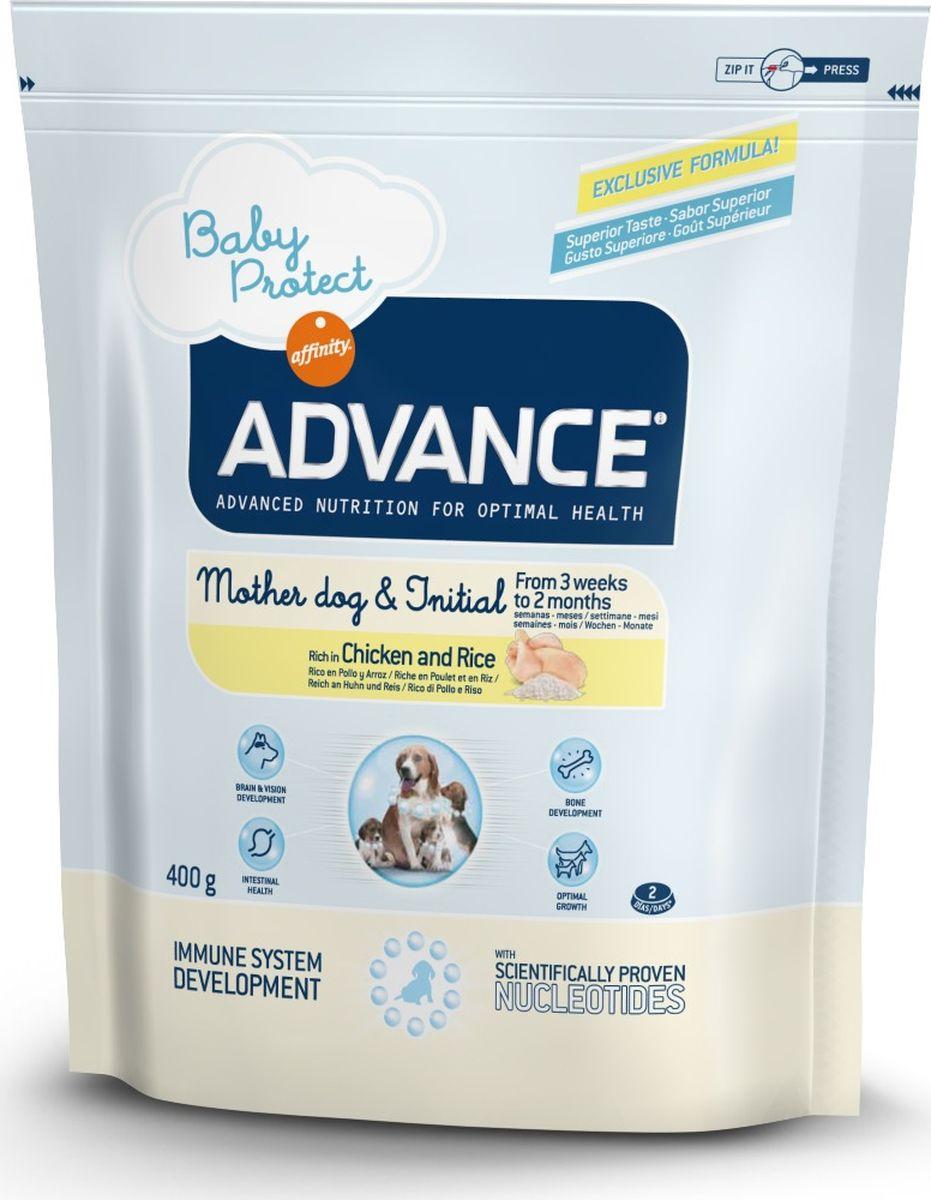 Корм сухой Advance Baby Protect Initial для щенков от 3 недель до 2 месяцев, 0,4 кгMS9-MIX5-10PAdvance - высококачественный корм супер-премиум класса испанской компании Affinity Petcare, которая занимает лидирующие места на европейском и мировом рынках. Корм разработан с учетом всех особенностей развития и жизнедеятельности собак и кошек. В линейке кормов Advance любой хозяин может подобрать необходимое питание в соответствии с возрастом и уникальными особенностями своего животного, а также в случае назначения специалистами ветеринарной диеты. Affinity Petcare имеет собственную лабораторию, а также сотрудничает с множеством международных исследовательских центров, благодаря чему специалисты постоянно совершенствуют рецептуру и полезные свойства своих кормов. В составе главным источником белка является СВЕЖЕЕ мясо, благодаря которому корм обладает высокими вкусовыми качествами, а также высокой питательной ценностью. Advance Baby Protect Initial - высококачественный сбалансированный корм, специально разработанный для щенков (от 2 до 8 месяцев) мини-пород (вес взрослой собаки до 10 кг), а также для беременных и кормящих собак. Эксклюзивная формула, содержащая нуклеотиды, которая помогает повысить эффективность репликации клеток и обеспечивает оптимальное развитие тканей растущих щенков. Ускоренный эффект репликации клеток позволяет активизировать иммунную систему, усиливая защитный барьер организма против бактерий, вирусов и других патогенов. Корм с содержанием пребиотиков, пробиотиков и иммуноглобулинами для правильного развития и защиты желудочно-кишечного тракта.Состав: курица (21%), дегидрированный животный белок, рис (17%), кукурузная мука, животный жир, маис, гидролизованный белок животного происхождения, свекольный жом, дрожжи, рыбий жир, кокосовое масло, плазменный протеин, казеинат, хлористый калий, инулин, соль, нуклеотиды. Анализ: протеин 32%, жиры 23%, сырые волокна 2%, неорганическое вещество 6,5%, кальций 1,3%, фосфор 1%, влажность 8%.Энергетическая ценно