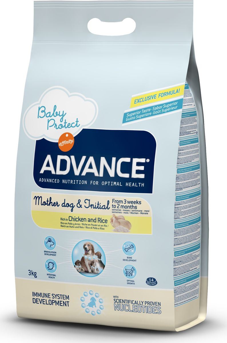 Корм сухой Advance Baby Protect Initial для щенков от 3 недель до 2 месяцев, 3 кг0120710Advance - высококачественный корм супер-премиум класса испанской компании Affinity Petcare, которая занимает лидирующие места на европейском и мировом рынках. Корм разработан с учетом всех особенностей развития и жизнедеятельности собак и кошек. В линейке кормов Advance любой хозяин может подобрать необходимое питание в соответствии с возрастом и уникальными особенностями своего животного, а также в случае назначения специалистами ветеринарной диеты. Affinity Petcare имеет собственную лабораторию, а также сотрудничает с множеством международных исследовательских центров, благодаря чему специалисты постоянно совершенствуют рецептуру и полезные свойства своих кормов. В составе главным источником белка является СВЕЖЕЕ мясо, благодаря которому корм обладает высокими вкусовыми качествами, а также высокой питательной ценностью. Advance Baby Protect Initial - высококачественный сбалансированный корм, специально разработанный для щенков (от 2 до 8 месяцев) мини-пород (вес взрослой собаки до 10 кг), а также для беременных и кормящих собак. Эксклюзивная формула, содержащая нуклеотиды, которая помогает повысить эффективность репликации клеток и обеспечивает оптимальное развитие тканей растущих щенков. Ускоренный эффект репликации клеток позволяет активизировать иммунную систему, усиливая защитный барьер организма против бактерий, вирусов и других патогенов. Корм с содержанием пребиотиков, пробиотиков и иммуноглобулинами для правильного развития и защиты желудочно-кишечного тракта.Состав: курица (21%), дегидрированный животный белок, рис (17%), кукурузная мука, животный жир, маис, гидролизованный белок животного происхождения, свекольный жом, дрожжи, рыбий жир, кокосовое масло, плазменный протеин, казеинат, хлористый калий, инулин, соль, нуклеотиды. Анализ: протеин 32%, жиры 23%, сырые волокна 2%, неорганическое вещество 6,5%, кальций 1,3%, фосфор 1%, влажность 8%.Энергетическая ценность 412