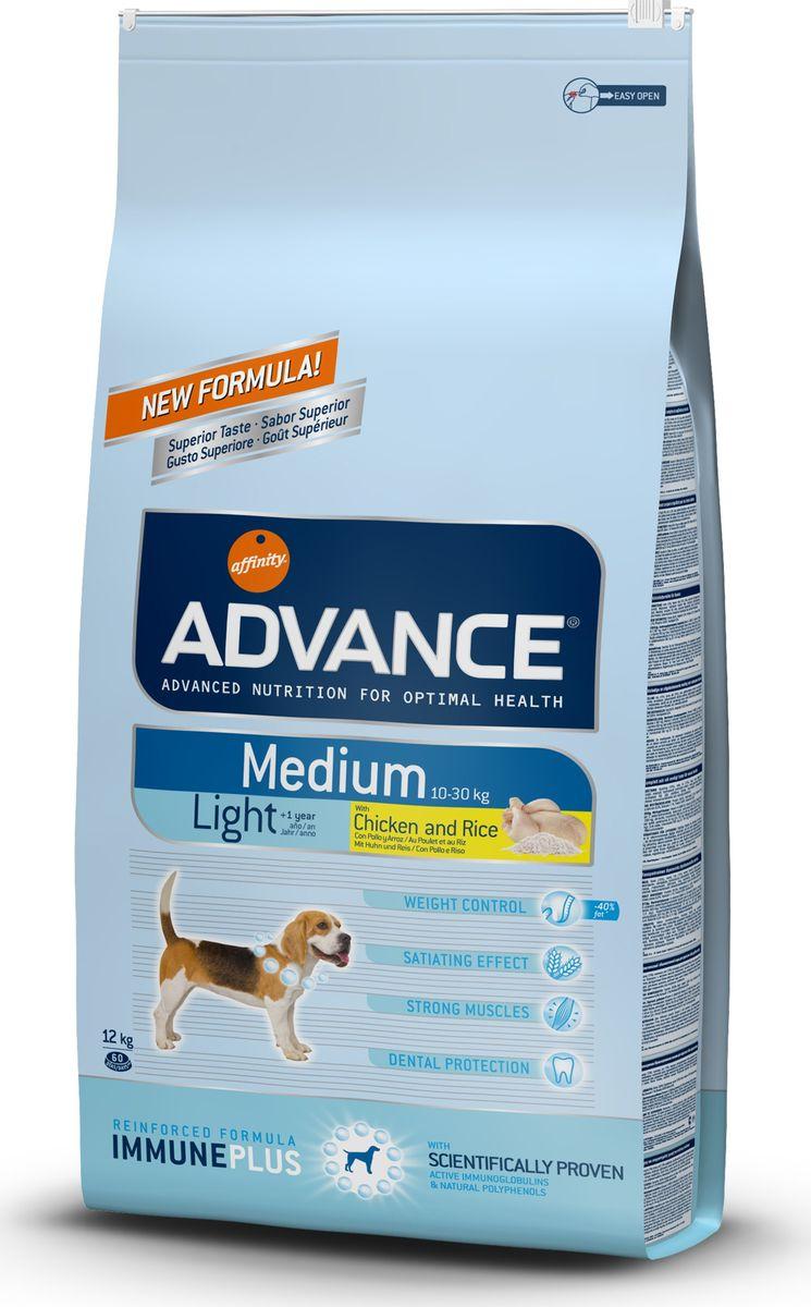 Корму сухой Advance Контроль веса для собак средних пород Medium Light, 12 кг. 5005500120710Advance – высококачественный корм супер-премиум класса Испанской компании Affinity Petcare, которая занимает лидирующие места на Европейском и мировом рынках. Корм разработан с учетом всех особенностей развития и жизнедеятельности собак и кошек. В линейке кормов Advance любой хозяин может подобрать необходимое питание в соответствии с возрастом и уникальными особенностями своего животного, а также в случае назначения специалистами ветеринарной диеты. Курица (15%), пшеница, рис (12%), маис, дегидрированное мясо курицы,кукурузный глютен, мука из пшеницы, гидролизированный белок животного происхождения,дегидрированный белок свинины, свекольный жом, кукурузные отруби, животный жир, дрожжи,растительные волокна, рыбий жир, хлористый калий, плазменный протеин,карбонат кальция,пирофосфорнокислый натрий, соль, природные полифенолы.Affinity Petcare имеет собственную лабораторию, а также сотрудничает со множеством международных исследовательских центров, благодаря чему специалисты постоянно совершенствуют рецептуру и полезные свойства своих кормов.В составе главным источником белка является СВЕЖЕЕ мясо, благодаря которому корм обладает высокими вкусовыми качествами, а также высокой питательной ценностью.