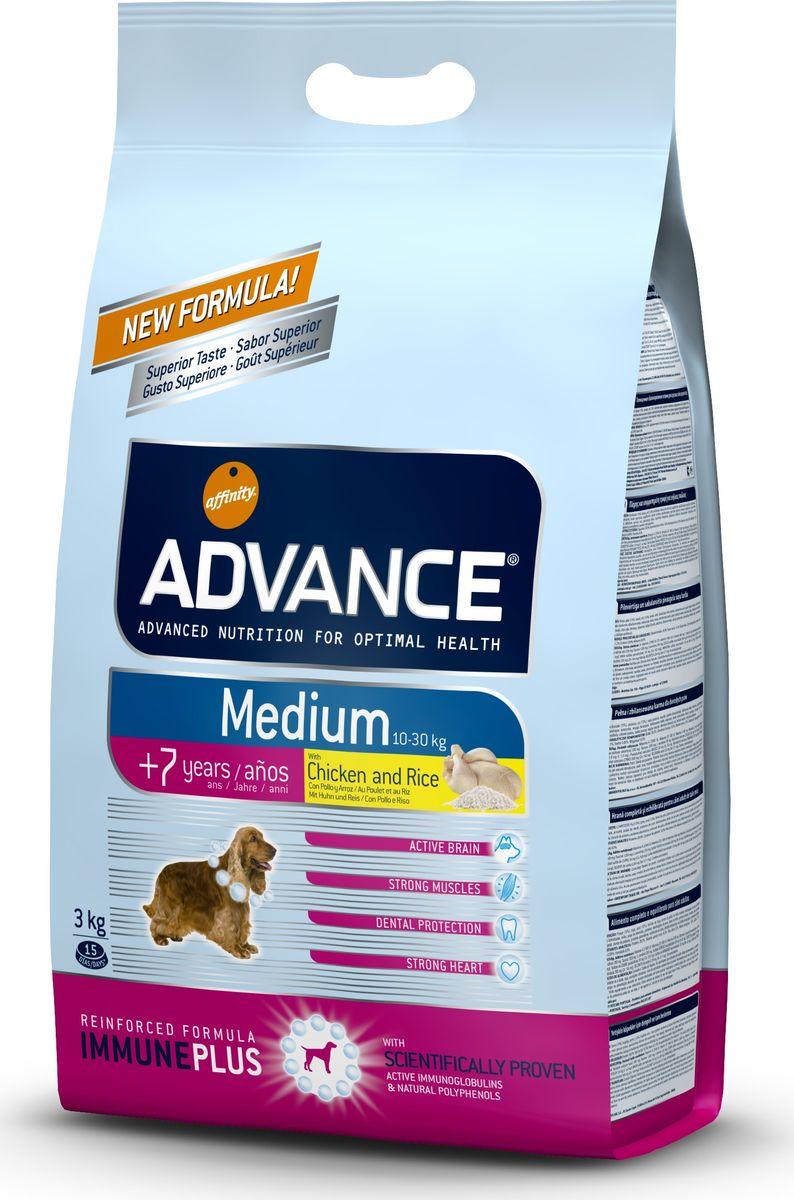 Корм сухой Advance Medium Senior для собак средних пород старше 7 лет, с курицей и рисом, 3 кг0120710Advance - высококачественный корм супер-премиум класса испанской компании Affinity Petcare, которая занимает лидирующие места на европейском и мировом рынках. Корм разработан с учетом всех особенностей развития и жизнедеятельности собак и кошек. В линейке кормов Advance любой хозяин может подобрать необходимое питание в соответствии с возрастом и уникальными особенностями своего животного, а также в случае назначения специалистами ветеринарной диеты. Affinity Petcare имеет собственную лабораторию, а также сотрудничает с множеством международных исследовательских центров, благодаря чему специалисты постоянно совершенствуют рецептуру и полезные свойства своих кормов. В составе главным источником белка является СВЕЖЕЕ мясо, благодаря которому корм обладает высокими вкусовыми качествами, а также высокой питательной ценностью. Состав: курица (14%), мука из маиса, пшеница, дегидрированное мясо курицы, рис (10%), мука из пшеницы, маис, гидролизованный белок животного происхождения, кукурузные отруби, свекольный жом, животный жир, дрожжи, яичный порошок, рыбий жир, хлористый калий, плазменный протеин, пирофосфорнокислый натрий, глюкозамин, хондроитинсульфат, природные полифенолы. Анализ: протеин 27%, жиры 13%, сырые волокна 2,5%, неорганическое вещество 6%, кальций 1,1%, фосфор 0,8%, влажность 9%.Энергетическая ценность 3590 ккал/кг. Товар сертифицирован.