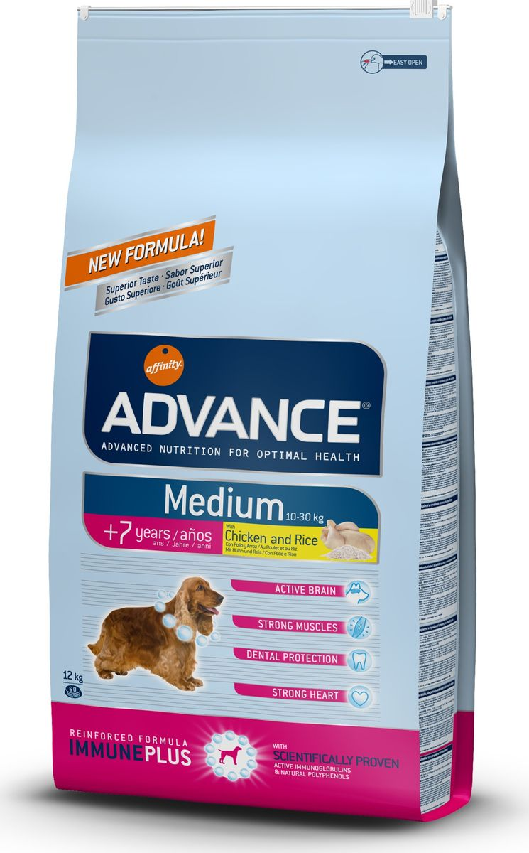 Корм сухой Advance Medium Senior для собак средних пород старше 7 лет, с курицей и рисом, 12 кг0120710Advance - высококачественный корм супер-премиум класса испанской компании Affinity Petcare, которая занимает лидирующие места на европейском и мировом рынках. Корм разработан с учетом всех особенностей развития и жизнедеятельности собак и кошек. В линейке кормов Advance любой хозяин может подобрать необходимое питание в соответствии с возрастом и уникальными особенностями своего животного, а также в случае назначения специалистами ветеринарной диеты. Affinity Petcare имеет собственную лабораторию, а также сотрудничает с множеством международных исследовательских центров, благодаря чему специалисты постоянно совершенствуют рецептуру и полезные свойства своих кормов. В составе главным источником белка является СВЕЖЕЕ мясо, благодаря которому корм обладает высокими вкусовыми качествами, а также высокой питательной ценностью. Состав: курица (14%), мука из маиса, пшеница, дегидрированное мясо курицы, рис (10%), мука из пшеницы, маис, гидролизованный белок животного происхождения, кукурузные отруби, свекольный жом, животный жир, дрожжи, яичный порошок, рыбий жир, хлористый калий, плазменный протеин, пирофосфорнокислый натрий, глюкозамин, хондроитинсульфат, природные полифенолы. Анализ: протеин 27%, жиры 13%, сырые волокна 2,5%, неорганическое вещество 6%, кальций 1,1%, фосфор 0,8%, влажность 9%.Энергетическая ценность 3590 ккал/кг. Товар сертифицирован.