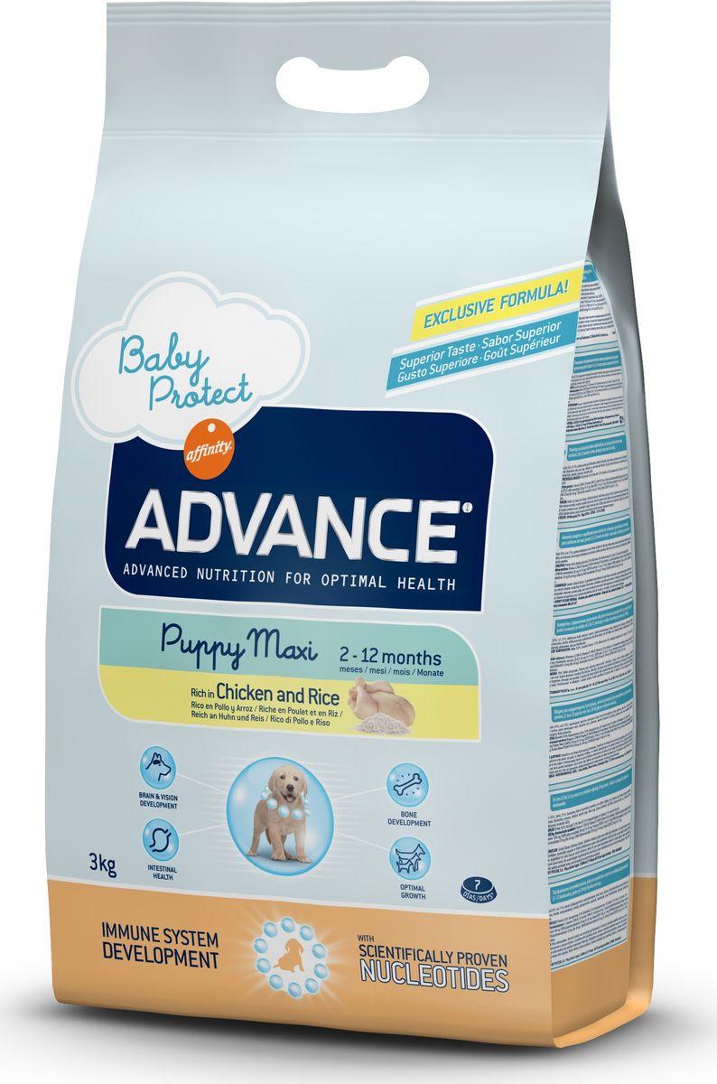 Корму сухой Advance для щенков крупных пород от 2 до 12 месяцев Baby Protect Maxi, 3 кг. 5133190120710Advance – высококачественный корм супер-премиум класса Испанской компании Affinity Petcare, которая занимает лидирующие места на Европейском и мировом рынках. Корм разработан с учетом всех особенностей развития и жизнедеятельности собак и кошек. В линейке кормов Advance любой хозяин может подобрать необходимое питание в соответствии с возрастом и уникальными особенностями своего животного, а также в случае назначения специалистами ветеринарной диеты. Курица (16%), рис (15%), дегидрированное мясо курицы, мука из маиса,пшеница, маис, животный жир, гидролизированный белок животного происхождения, свекольный жом, дрожжи,яичный порошок, гидролизированное масло подсолнечника, рыбий жир, плазменный протеинs,овсяныe волокна, хлористый калий, соль, трикальцийфосфат, нуклеотиды, глюкозамин, хондроитинсульфат.Affinity Petcare имеет собственную лабораторию, а также сотрудничает со множеством международных исследовательских центров, благодаря чему специалисты постоянно совершенствуют рецептуру и полезные свойства своих кормов.В составе главным источником белка является СВЕЖЕЕ мясо, благодаря которому корм обладает высокими вкусовыми качествами, а также высокой питательной ценностью.