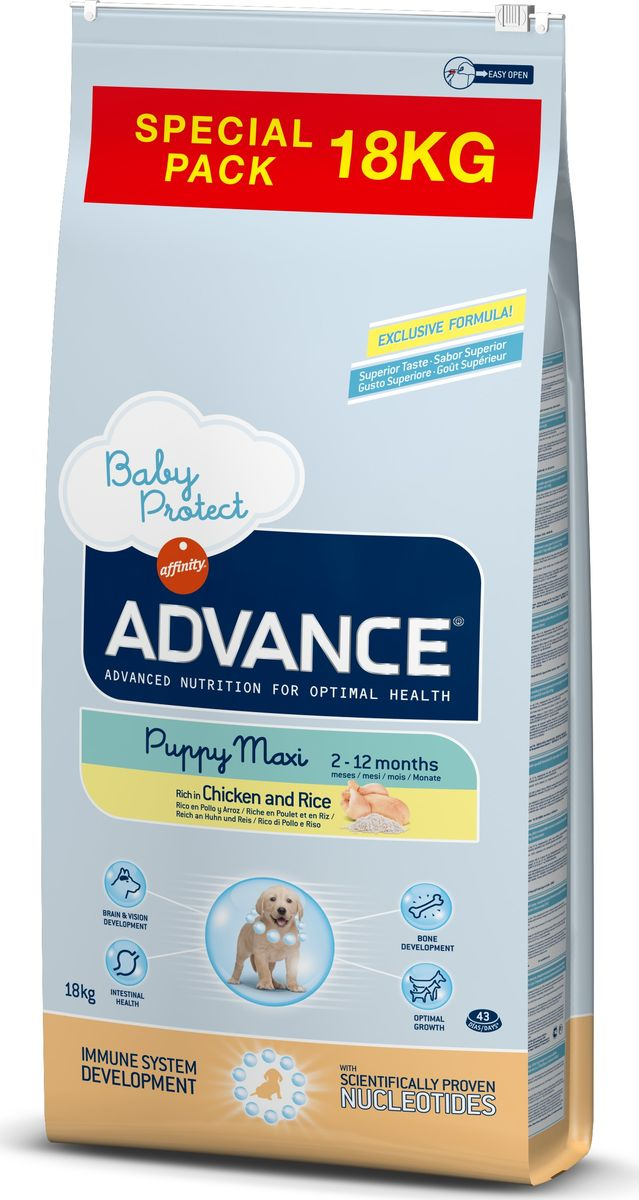 Корм сухой Advance Baby Protect Maxi для щенков крупных пород, от 2 до 12 месяцев, 18 кг0120710Advance - высококачественный корм супер-премиум класса испанской компании Affinity Petcare, которая занимает лидирующие места на европейском и мировом рынках. Корм разработан с учетом всех особенностей развития и жизнедеятельности собак и кошек. В линейке кормов Advance любой хозяин может подобрать необходимое питание в соответствии с возрастом и уникальными особенностями своего животного, а также в случае назначения специалистами ветеринарной диеты.Affinity Petcare имеет собственную лабораторию, а также сотрудничает с множеством международных исследовательских центров, благодаря чему специалисты постоянно совершенствуют рецептуру и полезные свойства своих кормов. В составе главным источником белка является СВЕЖЕЕ мясо, благодаря которому корм обладает высокими вкусовыми качествами, а также высокой питательной ценностью. Корм сухой Advance Baby Protect Maxi содержит эксклюзивную формулу, содержащую нуклеотиды, которая помогает повысить эффективность репликации клеток и обеспечивает оптимальное развитие тканей растущих щенков. Ускоренный эффект репликации клеток позволяет активизировать иммунную систему, усиливая защитный барьер организма против бактерий, вирусов и других патогенов. Корм с содержанием пребиотиков, пробиотиков и иммуноглобулинов для правильного развития и защиты желудочно-кишечного тракта.Состав: курица (16%), рис (15%), дегидрированное мясо курицы, мука из маиса, пшеница, маис, животный жир, гидролизованный белок животного происхождения, свекольный жом, дрожжи, яичный порошок, гидролизованное масло подсолнечника, рыбий жир, плазменный протеин, овсяные волокна, хлористый калий, соль, трикальцийфосфат, нуклеотиды, глюкозамин, хондроитинсульфат.Анализ: протеин 30%, жиры 17%, сырые волокна 3%, неорганическое вещество 6,5%, кальций 1,1%, фосфор 0,9%, влажность 9%.Энергетическая ценность 3755 ккал/кг. Товар сертифицирован.