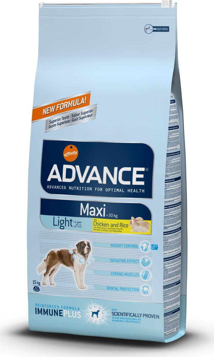 Корм сухой Advance Maxi Light для взрослых собак крупных пород, с курицей и рисом, 15 кг13069/559511Advance - высококачественный корм супер-премиум класса испанской компании Affinity Petcare, которая занимает лидирующие места на европейском и мировом рынках. Корм разработан с учетом всех особенностей развития и жизнедеятельности собак и кошек. В линейке кормов Advance любой хозяин может подобрать необходимое питание в соответствии с возрастом и уникальными особенностями своего животного, а также в случае назначения специалистами ветеринарной диеты. Affinity Petcare имеет собственную лабораторию, а также сотрудничает с множеством международных исследовательских центров, благодаря чему специалисты постоянно совершенствуют рецептуру и полезные свойства своих кормов. В составе главным источником белка является СВЕЖЕЕ мясо, благодаря которому корм обладает высокими вкусовыми качествами, а также высокой питательной ценностью.Advance Maxi Light - это высококачественный сбалансированный полнорационный корм для взрослых собак крупных пород (вес взрослых животных более 30 кг) с избыточным весом или склонных к набору веса. У корма высокое содержание клетчатки и белка в комбинации с низкокалорийными ингредиентами для поддержания оптимального веса собаки, а также для потери лишнего веса без потери мышечной массы. L-карнитин: помогает переработать жировые клетки в энергию, сжигая избыточные жировые клетки в организме собаки. Крокеты большого размера: адаптированы к челюсти и зубам собак крупных пород. Состав: курица (15%), пшеница, рис (12%), маис, дегидрированное мясо курицы, маисовый глютен, гидролизированный белок животного происхождения, кукурузные отруби, свекольный жом, дегидрированный белок свинины, животный жир, дрожжи, рыбий жир, карбонат кальция, хлористый калий, плазменный протеин, растительные волокна, пирофосфорнокислый натрий, трикальцийфосфат, глюкозамин, хондроитинсульфат, природные полифенолы.Анализ: протеин 28%, жиры 10%, сырые волокна 3,5%, неорганическое вещес