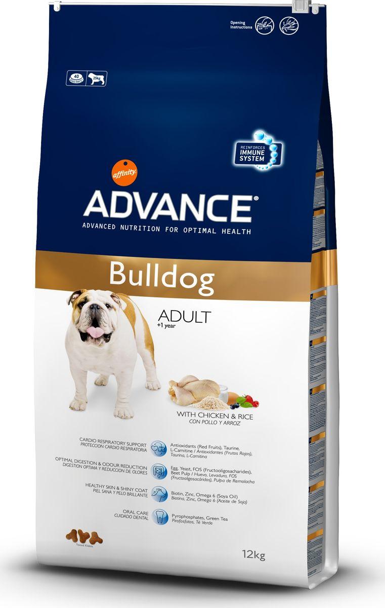 Корму сухой Advance для Бульдогов Bulldog, 12 кг. 5355100120710Advance – высококачественный корм супер-премиум класса Испанской компании Affinity Petcare, которая занимает лидирующие места на Европейском и мировом рынках. Корм разработан с учетом всех особенностей развития и жизнедеятельности собак и кошек. В линейке кормов Advance любой хозяин может подобрать необходимое питание в соответствии с возрастом и уникальными особенностями своего животного, а также в случае назначения специалистами ветеринарной диеты. Курица (17%), рис (17%), маис, пшеница, дегидрированное мясо курицы,животный жир, мука из маиса, дегидрированный белок свинины, гидролизированный белок животного происхождения, свекольный жом,яичный порошок (1%), дрожжи, рыбий жир, соевое масло,плазменный протеинs, карбонат кальция, хлористый калий, дегидрированный йогурт (0.3%), пирофосфорнокислый натрий, соль,фруктоолигосахариды, зеленый чай (0.1%), дегидрированные ягоды (0.05%), цитрусовый экстракт, обогащенный биофлаваноидами.Affinity Petcare имеет собственную лабораторию, а также сотрудничает со множеством международных исследовательских центров, благодаря чему специалисты постоянно совершенствуют рецептуру и полезные свойства своих кормов.В составе главным источником белка является СВЕЖЕЕ мясо, благодаря которому корм обладает высокими вкусовыми качествами, а также высокой питательной ценностью.