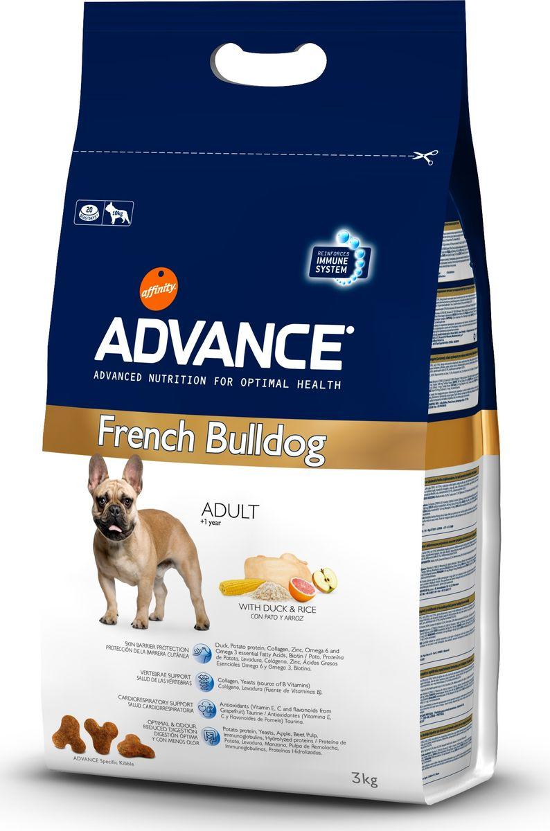 Корм сухой Advance French Bulldog для французских бульдогов, 3 кг0120710Advance - высококачественный корм супер-премиум класса испанской компании Affinity Petcare, которая занимает лидирующие места на европейском и мировом рынках. Корм разработан с учетом всех особенностей развития и жизнедеятельности собак и кошек. В линейке кормов Advance любой хозяин может подобрать необходимое питание в соответствии с возрастом и уникальными особенностями своего животного, а также в случае назначения специалистами ветеринарной диеты. Affinity Petcare имеет собственную лабораторию, а также сотрудничает с множеством международных исследовательских центров, благодаря чему специалисты постоянно совершенствуют рецептуру и полезные свойства своих кормов. В составе главным источником белка является СВЕЖЕЕ мясо, благодаря которому корм обладает высокими вкусовыми качествами, а также высокой питательной ценностью. Advance French Bulldog - высококачественный сбалансированный полнорационный корм специально разработан для обеспечения пищевых потребностей собак породы Французский бульдог с первого года жизни. Содержит специальные функциональные ингредиенты с оптимальным уровнем калорийности, которые нормализуют пищеварение, уменьшая неприятный запах. Помогает поддерживать защитные функции кожного барьера и способствует гармоничному развитию суставов. Стимулирует функционирование кардиоваскулярной системы. Специальная структура гранул адаптирована для собак породы Французский бульдог.Состав: маис (21%), утка(18%), рис (15%), мука из маиса, дегидрированный белок утки, ячмень, гидролизованный белок животного происхождения, картофельный протеин, животный жир, гидролизованный коллаген, рыбий жир, дрожжи, свекольный жом, карбонат кальция, растительные волокна, хлористый калий, плазменный протеин, соевое масло, пирофосфорнокислый натрий, соль, дегидрированное яблоко (0.1%), дегидрированный грейпфрут (0.02%).Анализ: протеин 24%, жиры 17,5%, сырые волокна 2%, неорганическое вещество 6%, кальций 1,2%,
