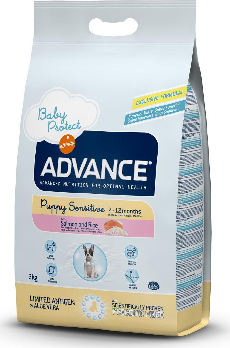 Корм сухой Advance Puppy Sensitive для щенков с чувствительным пищеварением, с лососем и рисом, 3 кг0120710Advance - высококачественный корм супер-премиум класса испанской компании Affinity Petcare, которая занимает лидирующие места на европейском и мировом рынках. Корм разработан с учетом всех особенностей развития и жизнедеятельности собак и кошек. В линейке кормов Advance любой хозяин может подобрать необходимое питание в соответствии с возрастом и уникальными особенностями своего животного, а также в случае назначения специалистами ветеринарной диеты. Affinity Petcare имеет собственную лабораторию, а также сотрудничает с множеством международных исследовательских центров, благодаря чему специалисты постоянно совершенствуют рецептуру и полезные свойства своих кормов. В составе главным источником белка является СВЕЖЕЕ мясо, благодаря которому корм обладает высокими вкусовыми качествами, а также высокой питательной ценностью. Состав: лосось (18%), маис, рис (14%), дегидрированный белок лосося, маисовый глютен, животный жир, гидролизованный белок животного происхождения, картофельный протеин, дрожжи, гидролизованный коллаген, свекольный жом, растительные волокна, хлористый калий, фруктоолигосахариды (0.43%), рыбий жир, карбонат кальция, соль, алоэ вера (0.005%). Товар сертифицирован.