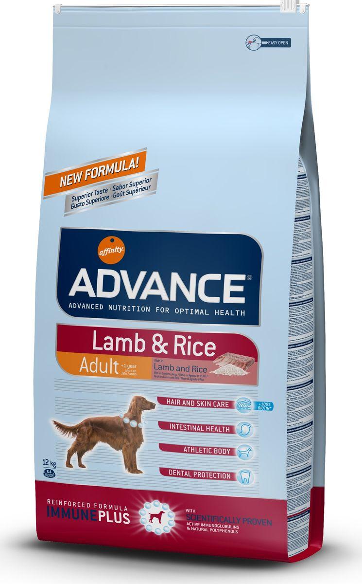 Корм сухой Advance для собак, с ягненком и рисом, 12 кг0120710Advance - высококачественный корм супер-премиум класса испанской компании Affinity Petcare, которая занимает лидирующие места на европейском и мировом рынках. Корм разработан с учетом всех особенностей развития и жизнедеятельности собак и кошек. В линейке кормов Advance любой хозяин может подобрать необходимое питание в соответствии с возрастом и уникальными особенностями своего животного, а также в случае назначения специалистами ветеринарной диеты. Affinity Petcare имеет собственную лабораторию, а также сотрудничает с множеством международных исследовательских центров, благодаря чему специалисты постоянно совершенствуют рецептуру и полезные свойства своих кормов. В составе главным источником белка является СВЕЖЕЕ мясо, благодаря которому корм обладает высокими вкусовыми качествами, а также высокой питательной ценностью. Состав: ягненок (15%), рис (15%), дегидрированное мясо курицы, маис, маисовый глютен, мука из маиса, животный жир, гидролизованный белок животного происхождения, дегидрированный белок свинины, свекольный жом, дрожжи, рыбий жир, хлористый калий, плазменный протеин, монокальцийфосфат, пирофосфорнокислый натрий, соль, карбонат кальция, природные полифенолы. Анализ: протеин 28%, жиры 18%, сырые волокна 2%, неорганическое вещество 6,5%, кальций 1,2%, фосфор 0,9%, влажность 9%.Энергетическая ценность 3640 ккал/кг.