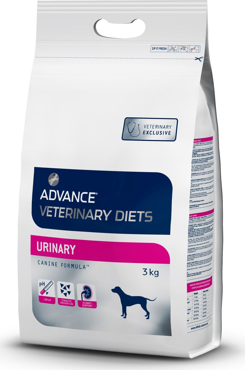 Корм сухой Advance Urinary Canine для собак при мочекаменной болезни, 3 кг0120710Advance - высококачественный корм супер-премиум класса испанской компании Affinity Petcare, которая занимает лидирующие места на европейском и мировом рынках. Корм разработан с учетом всех особенностей развития и жизнедеятельности собак и кошек. В линейке кормов Advance любой хозяин может подобрать необходимое питание в соответствии с возрастом и уникальными особенностями своего животного, а также в случае назначения специалистами ветеринарной диеты. Affinity Petcare имеет собственную лабораторию, а также сотрудничает с множеством международных исследовательских центров, благодаря чему специалисты постоянно совершенствуют рецептуру и полезные свойства своих кормов. В составе главным источником белка является СВЕЖЕЕ мясо, благодаря которому корм обладает высокими вкусовыми качествами, а также высокой питательной ценностью. Состав: маис, рис, дегидрированный белок курицы, маисовый глютен, животные жиры, пшеница, кукурузная мука, свекольный жом, гидролизованные белки животного происхождения, яичный порошок, хлорид калия, рыбий жир, соль, монокальций фосфат. Окислители мочевины: маисовый глютен, сульфат кальция. Товар сертифицирован.