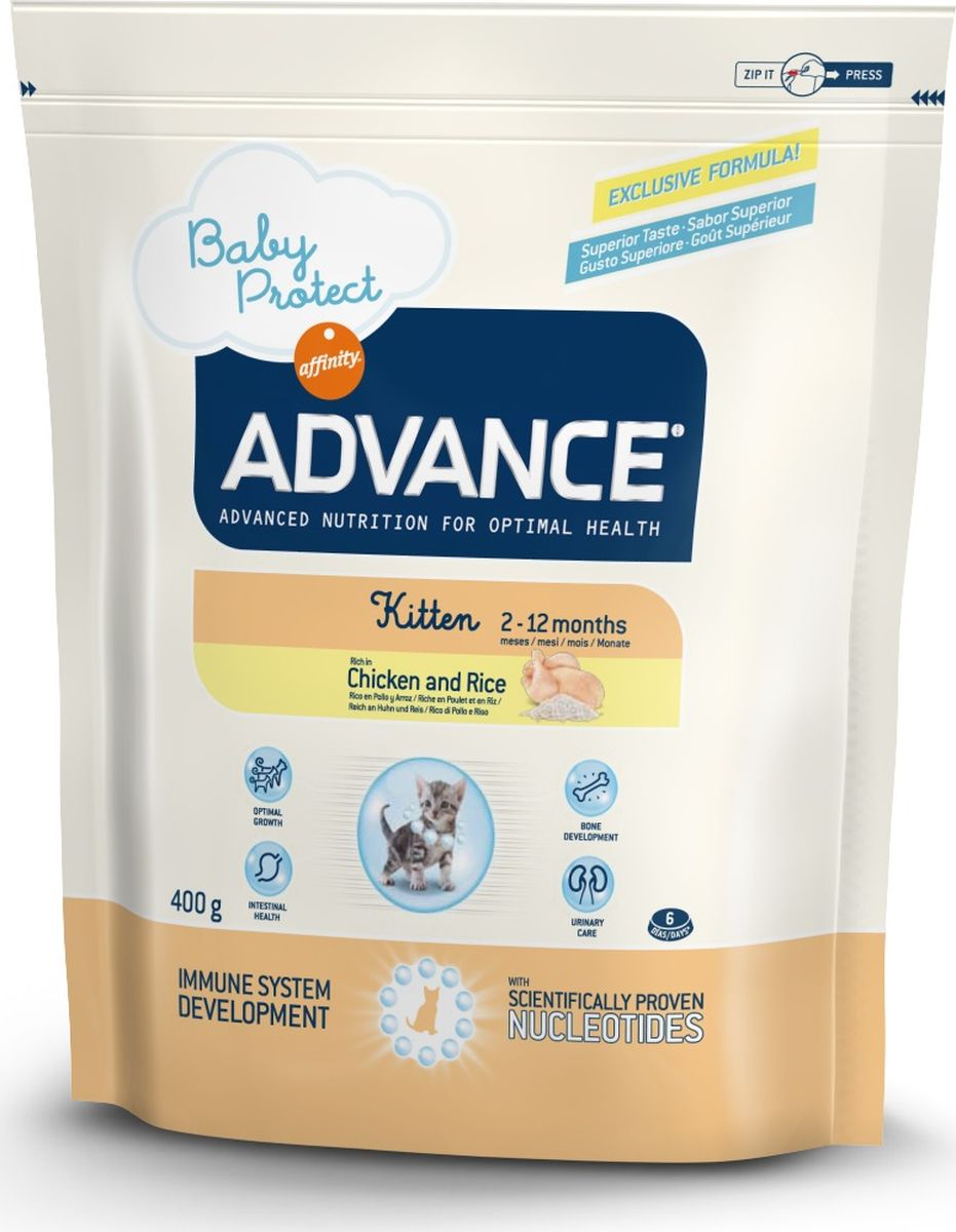 Корм сухой Advance Baby Protect Kitten для котят с 2 до 12 месяцев, 0,4 кг0120710Advance - высококачественный корм супер-премиум класса испанской компании Affinity Petcare, которая занимает лидирующие места на европейском и мировом рынках. Корм разработан с учетом всех особенностей развития и жизнедеятельности собак и кошек. В линейке кормов Advance любой хозяин может подобрать необходимое питание в соответствии с возрастом и уникальными особенностями своего животного, а также в случае назначения специалистами ветеринарной диеты. Affinity Petcare имеет собственную лабораторию, а также сотрудничает с множеством международных исследовательских центров, благодаря чему специалисты постоянно совершенствуют рецептуру и полезные свойства своих кормов. В составе главным источником белка является СВЕЖЕЕ мясо, благодаря которому корм обладает высокими вкусовыми качествами, а также высокой питательной ценностью. Состав: курица (20%), дегидрированное мясо курицы, рис (16%), маисовый глютен, животный жир, маис, дегидрированный белок свинины, пшеничный глютен, гидролизированные белки животного происхождения, дегидрированный белок лосося, свекольный жом, яичный порошок, гидролизированный белок лосося, рыбий жир, плазменный протеин, дрожжи, фруктоолигосахариды, хлористый калий, монокальцийфосфат, соевое масло, нуклеотиды.Анализ: протеин 41%, жиры 20%, сырые волокна 1,5%, неорганическое вещество 6,5%, кальций 1,2%, фосфор 0,9%, натрий 0,3%, влажность 8%.Энергетическая ценность 4360 ккал/кг. Товар сертифицирован.
