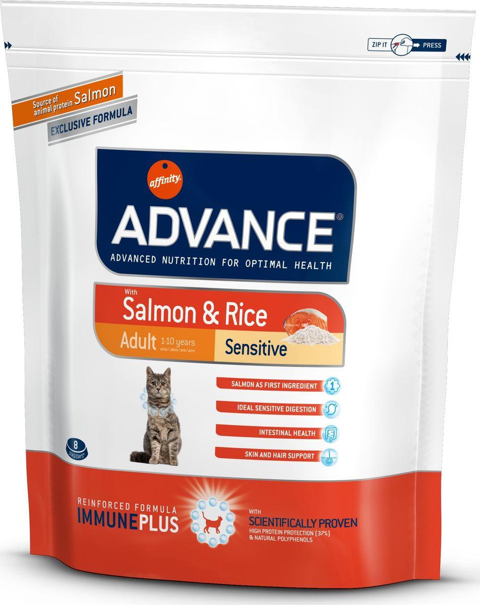Корм сухой Advance для кошек с чувствительным пищеварением, с лососем и рисом, 0,4 кг0120710Advance - высококачественный корм супер-премиум класса испанской компании Affinity Petcare, которая занимает лидирующие места на европейском и мировом рынках. Корм разработан с учетом всех особенностей развития и жизнедеятельности собак и кошек. В линейке кормов Advance любой хозяин может подобрать необходимое питание в соответствии с возрастом и уникальными особенностями своего животного, а также в случае назначения специалистами ветеринарной диеты. Affinity Petcare имеет собственную лабораторию, а также сотрудничает с множеством международных исследовательских центров, благодаря чему специалисты постоянно совершенствуют рецептуру и полезные свойства своих кормов. В составе главным источником белка является СВЕЖЕЕ мясо, благодаря которому корм обладает высокими вкусовыми качествами, а также высокой питательной ценностью. Состав: лосось (18%), мука из маиса, рис (15%), дегидрированный белок лосося, пшеница, пшеничный протеин, животный жир, маис, гидролизированный белок, свекольный жом, дрожжи, хлористый калий, инулин, плазменный протеин, монокальцийфосфат, природные полифенолы.Анализ: протеин 37%, жиры 16%, сырые волокна 1,5%, неорганическое вещество 6,6%, кальций 1,1%, фосфор 0,95%, натрий 0,35%, влажность 8%.Энергетическая ценность 3990 ккал/кг. Товар сертифицирован.