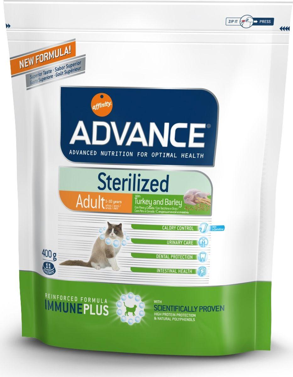 Корм сухой Advance Sterilized Turkey для стерилизованных кошек, с индейкой, 0,4 кг20724/922227Advance - высококачественный корм супер-премиум класса испанской компании Affinity Petcare, которая занимает лидирующие места на европейском и мировом рынках. Корм разработан с учетом всех особенностей развития и жизнедеятельности собак и кошек. В линейке кормов Advance любой хозяин может подобрать необходимое питание в соответствии с возрастом и уникальными особенностями своего животного, а также в случае назначения специалистами ветеринарной диеты. Affinity Petcare имеет собственную лабораторию, а также сотрудничает с множеством международных исследовательских центров, благодаря чему специалисты постоянно совершенствуют рецептуру и полезные свойства своих кормов. В составе главным источником белка является СВЕЖЕЕ мясо, благодаря которому корм обладает высокими вкусовыми качествами, а также высокой питательной ценностью. Корм сухой Advance Sterilized Turkey помогает предотвратить ожирение у стерилизованных кошек: более низкое содержание калорий не позволяет потреблять калорий больше, чем это необходимо животному; высокое содержание клетчатки увеличивает чувство насыщения; высокое содержание протеинов вместе с умеренным содержанием жира помогает сохранять мышечную массу животного. Уменьшает риск появления мочекаменной болезни или камней: ингредиенты корма помогают поддержать необходимый рН мочи и стимулируют диурез. Благодаря содержанию в корме глюкозамина, предотвращается образование мочекаменной болезни или образованию камней. Улучшает гормональные функции инсулина: более низкое содержание углеводов в корме, способствует правильной работе инсулина. Состав: индейка (15%), мука из маиса, пшеница, маис, дегидрированный белок курицы, дегидрированный белок свинины, пшеничный глютен, ячмень (8%), волокна гороха, гидролизованный белок животного происхождения, дрожжи, животный жир, соль, инулин, рыбий жир, яичный порошок, хлористый калий, плазменный протеин, хлористый калий, глюк