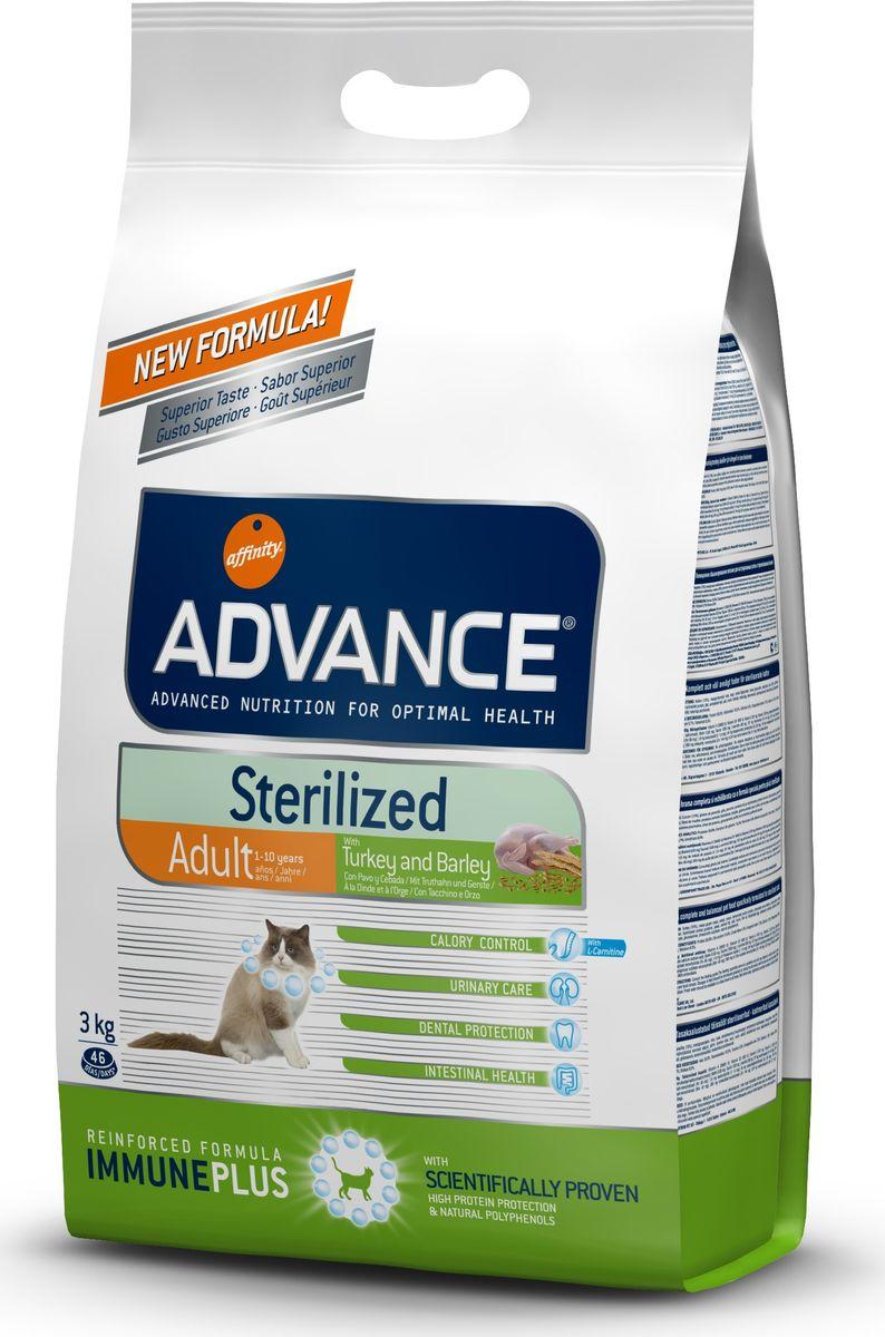 Корму сухой Advance для стерилизованных кошек с индейкой Sterilized Turkey, 3 кг. 57731120726Advance – высококачественный корм супер-премиум класса Испанской компании Affinity Petcare, которая занимает лидирующие места на Европейском и мировом рынках. Корм разработан с учетом всех особенностей развития и жизнедеятельности собак и кошек. В линейке кормов Advance любой хозяин может подобрать необходимое питание в соответствии с возрастом и уникальными особенностями своего животного, а также в случае назначения специалистами ветеринарной диеты. Индейка (15%), мука из маиса, пшеница, маис, дегидрированный белок курицы, дегидрированный белок свинины, пшеничный глютен, ячмень (8%), волокна гороха, гидролизированный белок животного происхождения, дрожжи, животный жир, соль, инулин,рыбий жир,яичный порошок, хлористый калий, плазменный протеинs,хлористый калий, глюкозамин, хондроитинсульфат, природные полифенолыAffinity Petcare имеет собственную лабораторию, а также сотрудничает со множеством международных исследовательских центров, благодаря чему специалисты постоянно совершенствуют рецептуру и полезные свойства своих кормов.В составе главным источником белка является СВЕЖЕЕ мясо, благодаря которому корм обладает высокими вкусовыми качествами, а также высокой питательной ценностью.
