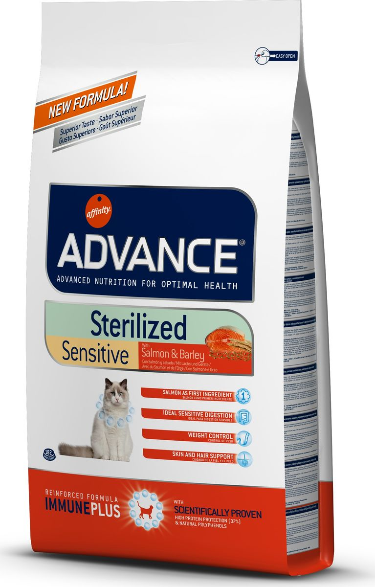 Корм сухой Advance Sterilized Sensitive Salmon для стерилизованных кошек, с лососем, 10 кг20731/921866Advance - высококачественный корм супер-премиум класса испанской компании Affinity Petcare, которая занимает лидирующие места на европейском и мировом рынках. Корм разработан с учетом всех особенностей развития и жизнедеятельности собак и кошек. В линейке кормов Advance любой хозяин может подобрать необходимое питание в соответствии с возрастом и уникальными особенностями своего животного, а также в случае назначения специалистами ветеринарной диеты. Affinity Petcare имеет собственную лабораторию, а также сотрудничает с множеством международных исследовательских центров, благодаря чему специалисты постоянно совершенствуют рецептуру и полезные свойства своих кормов. В составе главным источником белка является СВЕЖЕЕ мясо, благодаря которому корм обладает высокими вкусовыми качествами, а также высокой питательной ценностью. Корм сухой Advance Sterilized помогает предотвратить ожирение у стерилизованных кошек: более низкое содержание калорий не позволяет потреблять калорий больше, чем это необходимо животному; высокое содержание клетчатки увеличивает чувство насыщения; высокое содержание протеинов вместе с умеренным содержанием жира помогает сохранять мышечную массу животного. Уменьшает риск появления мочекаменной болезни или камней: ингредиенты корма помогают поддержать необходимый рН мочи и стимулируют диурез. Благодаря содержанию в корме глюкозамина, предотвращается образование мочекаменной болезни или образованию камней. Улучшает гормональные функции инсулина: более низкое содержание углеводов в корме, способствует правильной работе инсулина. Состав: лосось (18%), маисовый протеин, маис, дегидрированный белок лосося, пшеничный протеин, ячмень (8%), гидролизованный белок животного происхождения, растительные волокна, свекольный жом, животный жир, дрожжи, соль, хлористый калий, инулин, плазменный протеин, природные полифенолы. Анализ: протеин 39%, жиры 10,5%, сырые в