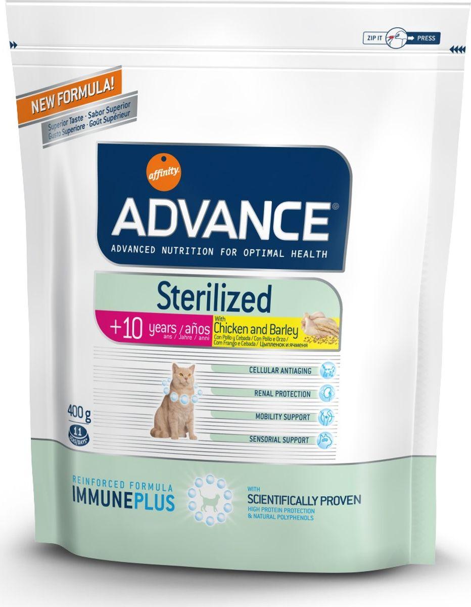 Корм сухой Advance Sterilized, для стерилизованных кошек старше 10 лет, ячмень и цыпленок, 400 г101246Сухой корм Advance Sterilized является полнорационным сбалансированным кормом для стерилизованных кошек старше 10 лет. Особенности корма Advance Sterilized:- предотвращает ожирение без потери мышечной массы,- уменьшает риск появление мочекаменной болезни или камней,- улучшение гормональных функций.Сухой корм Advance Sterilized - это высококачественная продукция, основанная на последних разработках в области диетологии и питания, чтобы поддерживать вашего любимца в отличном состоянии. Это полностью сбалансированный корм, который обеспечивает прекрасное самочувствие животного, как внутри, так и снаружи.Состав: Курица (18%), кукуруза, кукурузная клейковина, дегидрированные белки домашней птицы, ячмень (8%), животный жир, пшеница, пшеничный клейковина, дегидрированный белок свинины, гидролизированные животные белки, дегидрированный белок лосося, растительная клетчатка, яичный порошок, рыбий жир, дрожжи, инулин, хлористый калий, белки плазмы, соль, глюкозамин, сульфат хондроитина, природные полифенолы.Товар сертифицирован.
