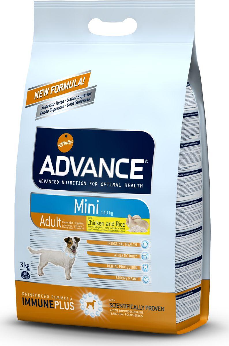 Корм сухой Advance Mini Adult для взрослых собак малых пород с 8 месяцев, 3 кг0120710Advance - высококачественный корм супер-премиум класса испанской компании Affinity Petcare, которая занимает лидирующие места на европейском и мировом рынках. Корм разработан с учетом всех особенностей развития и жизнедеятельности собак и кошек. В линейке кормов Advance любой хозяин может подобрать необходимое питание в соответствии с возрастом и уникальными особенностями своего животного, а также в случае назначения специалистами ветеринарной диеты. Affinity Petcare имеет собственную лабораторию, а также сотрудничает с множеством международных исследовательских центров, благодаря чему специалисты постоянно совершенствуют рецептуру и полезные свойства своих кормов. В составе главным источником белка является СВЕЖЕЕ мясо, благодаря которому корм обладает высокими вкусовыми качествами, а также высокой питательной ценностью. Состав: курица (20%), рис (15%), дегидрированное мясо курицы, пшеница, маисовый глютен, животный жир, маис, гидролизированный белок животного происхождения, свекольный жом, рыбий жир, яичный порошок, дрожжи, хлористый калий, плазменный протеин, пирофосфорнокислый натрий, карбонат кальция, соль, природные полифенолы. Анализ: протеин 28%, жиры 19%, сырые волокна 2%, неорганическое вещество 6,5%, кальций 1,3%, фосфор 1%, влажность 9%.Энергетическая ценность 3890 ккал/кг.