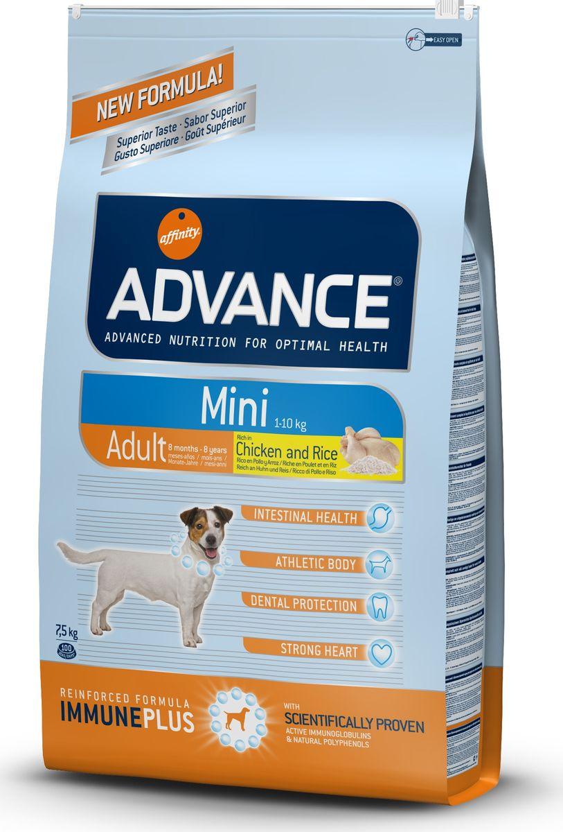 Корму сухой Advance для взрослых собак малых пород с 8 месяцев Mini Adult, 7,5 кг. 5454110120710Advance – высококачественный корм супер-премиум класса Испанской компании Affinity Petcare, которая занимает лидирующие места на Европейском и мировом рынках. Корм разработан с учетом всех особенностей развития и жизнедеятельности собак и кошек. В линейке кормов Advance любой хозяин может подобрать необходимое питание в соответствии с возрастом и уникальными особенностями своего животного, а также в случае назначения специалистами ветеринарной диеты. Курица (20%), рис (15%), дегидрированное мясо курицы, пшеница, маисовый глютен, животный жир, маис, гидролизированный белок животного происхождения, свекольный жом, рыбий жир,яичный порошок, дрожжи, хлористый калий, плазменный протеин, пирофосфорнокислый натрий,карбонат кальция, соль, природные полифенолы. Affinity Petcare имеет собственную лабораторию, а также сотрудничает со множеством международных исследовательских центров, благодаря чему специалисты постоянно совершенствуют рецептуру и полезные свойства своих кормов.В составе главным источником белка является СВЕЖЕЕ мясо, благодаря которому корм обладает высокими вкусовыми качествами, а также высокой питательной ценностью.