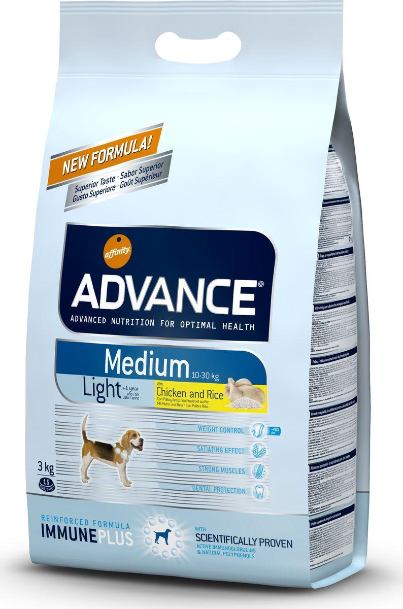 Корм сухой Advance Medium Light для собак средних пород, с курицей и рисом, 3 кг0120710Advance - высококачественный корм супер-премиум класса испанской компании Affinity Petcare, которая занимает лидирующие места на европейском и мировом рынках. Корм разработан с учетом всех особенностей развития и жизнедеятельности собак и кошек. В линейке кормов Advance любой хозяин может подобрать необходимое питание в соответствии с возрастом и уникальными особенностями своего животного, а также в случае назначения специалистами ветеринарной диеты. Affinity Petcare имеет собственную лабораторию, а также сотрудничает с множеством международных исследовательских центров, благодаря чему специалисты постоянно совершенствуют рецептуру и полезные свойства своих кормов. В составе главным источником белка является СВЕЖЕЕ мясо, благодаря которому корм обладает высокими вкусовыми качествами, а также высокой питательной ценностью.Advance Medium Light - это высококачественный сбалансированный полнорационный корм для взрослых собак средних пород (вес взрослых животных от 10 до 30 кг) с избыточным весом или склонных к набору веса. У корма высокое содержание клетчатки и белка в комбинации с низкокалорийными ингредиентами для поддержания оптимального веса собаки, а также для потери лишнего веса без потери мышечной массы. L-карнитин: помогает переработать жировые клетки в энергию, сжигая избыточные жировые клетки в организме собаки. Крокеты среднего размера: адаптированы к челюсти и зубам собак средних пород. Состав: курица (15%), пшеница, рис (12%), маис, дегидрированное мясо курицы, маисовый глютен, гидролизированный белок животного происхождения, кукурузные отруби, свекольный жом, дегидрированный белок свинины, животный жир, дрожжи, рыбий жир, карбонат кальция, хлористый калий, плазменный протеин, растительные волокна, пирофосфорнокислый натрий, трикальцийфосфат, глюкозамин, хондроитинсульфат, природные полифенолы.Анализ: протеин 28%, жиры 10%, сырые волокна 3,5%, неорганическое вещество 6%, 