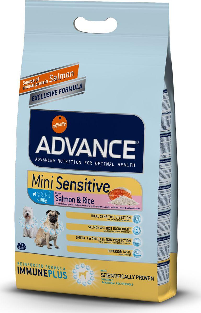Корм сухой Advance для собак малых пород с чувствительным пищеварением, с лососем и рисом, 3 кг0120710Advance - высококачественный корм супер-премиум класса испанской компании Affinity Petcare, которая занимает лидирующие места на европейском и мировом рынках. Корм разработан с учетом всех особенностей развития и жизнедеятельности собак и кошек. В линейке кормов Advance любой хозяин может подобрать необходимое питание в соответствии с возрастом и уникальными особенностями своего животного, а также в случае назначения специалистами ветеринарной диеты. Affinity Petcare имеет собственную лабораторию, а также сотрудничает с множеством международных исследовательских центров, благодаря чему специалисты постоянно совершенствуют рецептуру и полезные свойства своих кормов. В составе главным источником белка является СВЕЖЕЕ мясо, благодаря которому корм обладает высокими вкусовыми качествами, а также высокой питательной ценностью. Состав: лосось (18%), маис, мука из маиса, рис (14%), дегидрированный белок лосося, животный жир, гидролизованный протеин, дрожжи, свекольный жом, кормовая мука из рапсового жмыха, растительные волокна, хлористый калий, карбонат кальция, фруктоолигосахариды. Товар сертифицирован.
