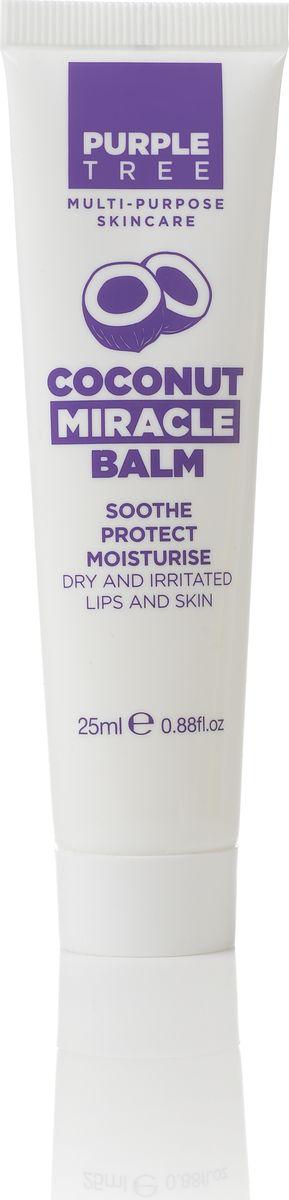 Purple Tree Бальзам для губ Miracle Balm Coconut, 25 мл00882СХМасло кокоса увлажняет, питает, обладает противовоспалительными и регенерирующими свойствами. Является антиоксидантом, защищая кожу от негативных воздействий окружающей среды, быстро впитывается. Прекрасно успокаивает раздраженную кожу, в том числе и от укусов насекомых. Может быть использован для лечения ногтей и кутикул и косметических процедур укладка бровей и удлинение ресниц.