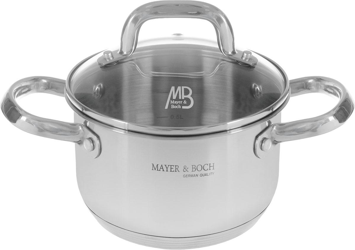 Кастрюля Mayer & Boch с крышкой, 1,7 л. 455254 009312Кастрюля Mayer & Boch изготовлена из высококачественной нержавеющей стали 18/10, которая придает ей привлекательный внешний вид, обеспечивает легкую очистку и долговечность. Многослойное термоаккумулирующее дно кастрюли с прослойкой из алюминия обеспечивает наилучшее распределение тепла. Кастрюля оснащена удобными ручками из нержавеющей стали. Куполообразная крышка, выполненная из термостойкого стекла, позволяет следить за процессом приготовления пищи. Она оснащена отверстием для выхода пара и металлическим ободом. Форма кромки кастрюли предотвращает разливание жидкости, а благодаря правильности линий кромки в комбинации с крышкой, обеспечивается максимальная герметизация между ними. Внутренние стенки имеют отметки литража. Кастрюля подходит для всех типов плит. Также изделие пригодно для мытья в посудомоечной машине. Диаметр (по верхнему краю): 17,5 см. Высота стенки: 10 см. Ширина (с учетом ручек): 27 см.УВАЖАЕМЫЕ КЛИЕНТЫ!Обращаем ваше внимание на тот факт, что объем указан максимальный, с учетом полного наполнения до кромки. Шкала на внутренней стенке изделия имеет меньший литраж.