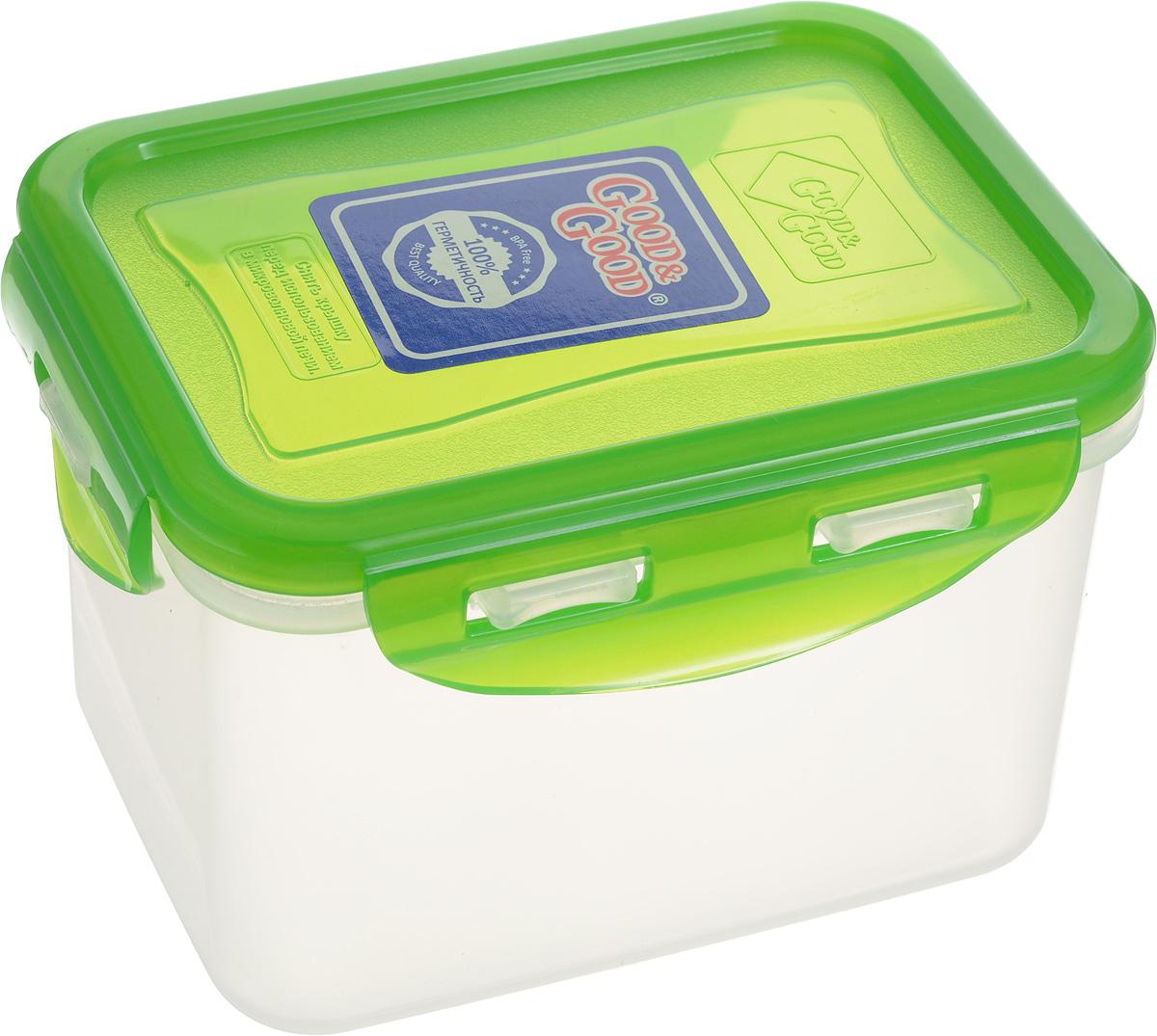 Контейнер пищевой Good&Good, цвет: зеленый, 630 мл. B/COL 02-221395599Прямоугольный контейнер Good&Good изготовлен извысококачественного полипропилена и предназначен дляхранения любых пищевых продуктов. Благодаря особымтехнологиям изготовления, лотки в течение временислужбы не меняют цвет и не пропитываются запахами. Крышкас силиконовой вставкой герметично защелкиваетсяспециальным механизмом. Контейнер Good&Good удобен для ежедневногоиспользования в быту.Можно мыть в посудомоечной машине и использовать вмикроволновой печи.Размер контейнера (с учетом крышки): 13 х 9,5 х 8,5 см.