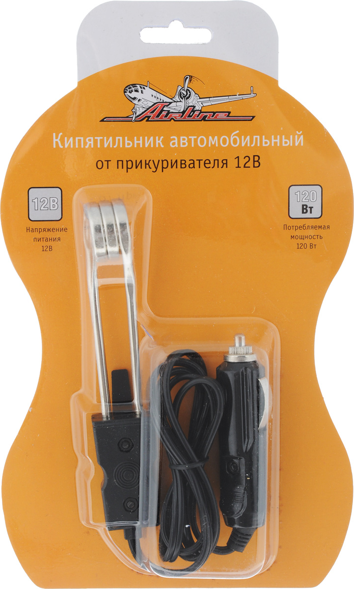 Кипятильник автомобильный Airline, от прикуривателя, 12ВS02301020Автомобильный кипятильник Airline устанавливается в разъем прикуривателя и функционирует за счет питания напряжением 12В. Корпус кипятильника изготовлен из пластика, нагревательный элемент - из металла. Мощность кипятильника составляет 120 Вт. Устройство поможет произвести нагрев жидкости в салоне автомобиля за короткий период времени. Длина провода равна 80 см.