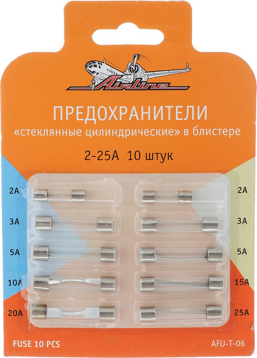 Набор предохранителей Airline, 10 штAFU-T-06Набор Airline состоит из 10 предохранителей для электрической цепи аккумулятора автомобиля. Предохранители имеют форму цилиндра и стеклянную оболочку. Данные предохранители широко распространены и используются не только в автомобилях, но и других многочисленных технических устройствах. Плавкая вставка изделия произведена из цинка, что является несомненным преимуществом предохранителей. Номинальный ток : от 2А до 25А. Размеры предохранителей: 5 х 5 х 20 мм, 5 х 5 х 30 мм, 6 х 6 х 32 мм.