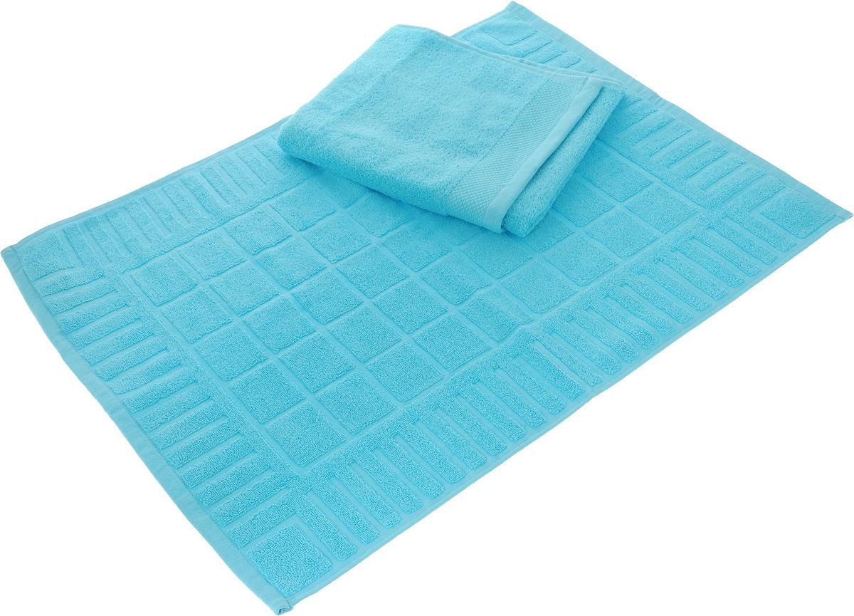 Набор Toalla: полотенце и коврик для ног, цвет: голубойS03301004Набор Toalla состоит из полотенца и коврика для ног. Изделия выполнены из 100% хлопка. Ткань изделий обладает высокой плотностью и мягкостью, отличается высоким качеством и длительным сроком службы. В процессе эксплуатации материал становится только мягче и приятней на ощупь. Египетский хлопок не содержит линта (хлопковый пух), поэтому на ткани не образуются катышки даже после многократных стирок и длительного использования. Сверхдлинные волокна придают ткани характерный красивый блеск. Изделия отлично впитывают влагу и быстро сохнут. Такой набор красиво дополнит интерьер ванной комнаты и станет практичным приобретением. Коврик оформлен рельефным геометрическим рисунком. Плотность полотенца: 500 г/м2. Плотность коврика: 700 г/м2.